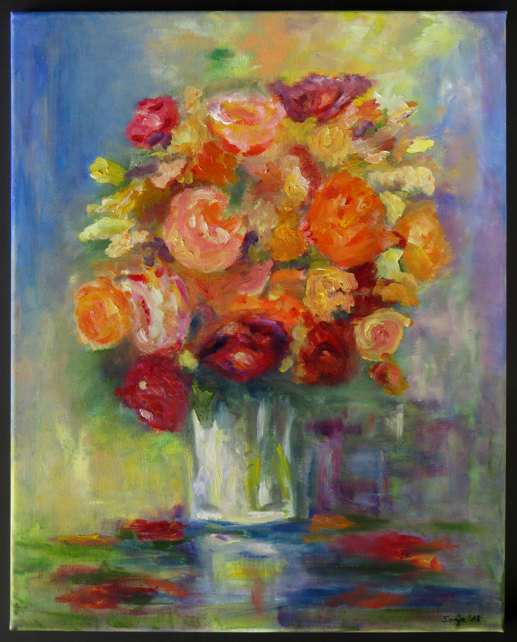 """""""Blumenstrauß"""",. Öl auf Leinwand, 40 x 50 cm"""