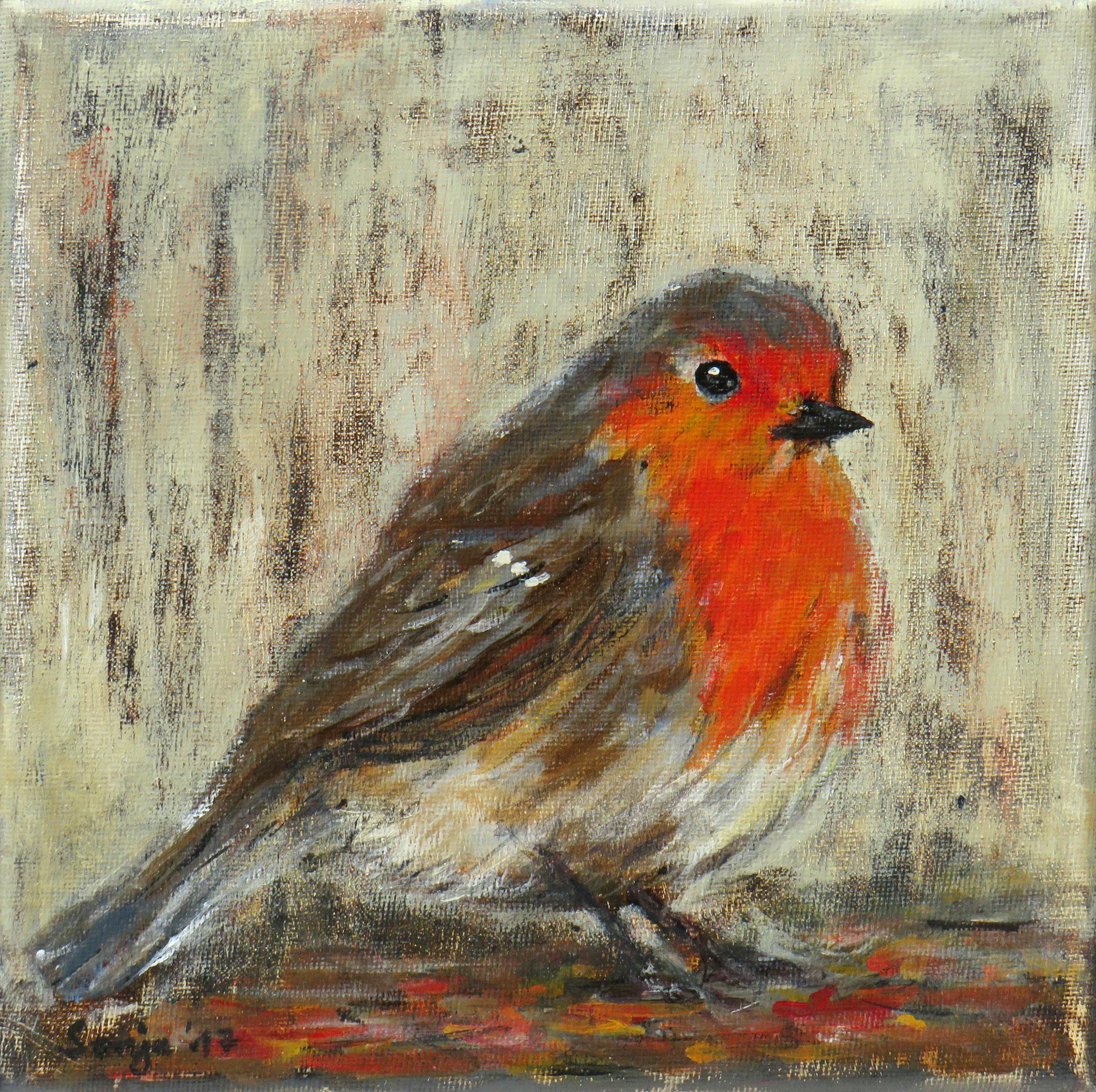 """""""Rotkehlchen"""", Acryl auf Leinwand, 20 x 20 cm"""