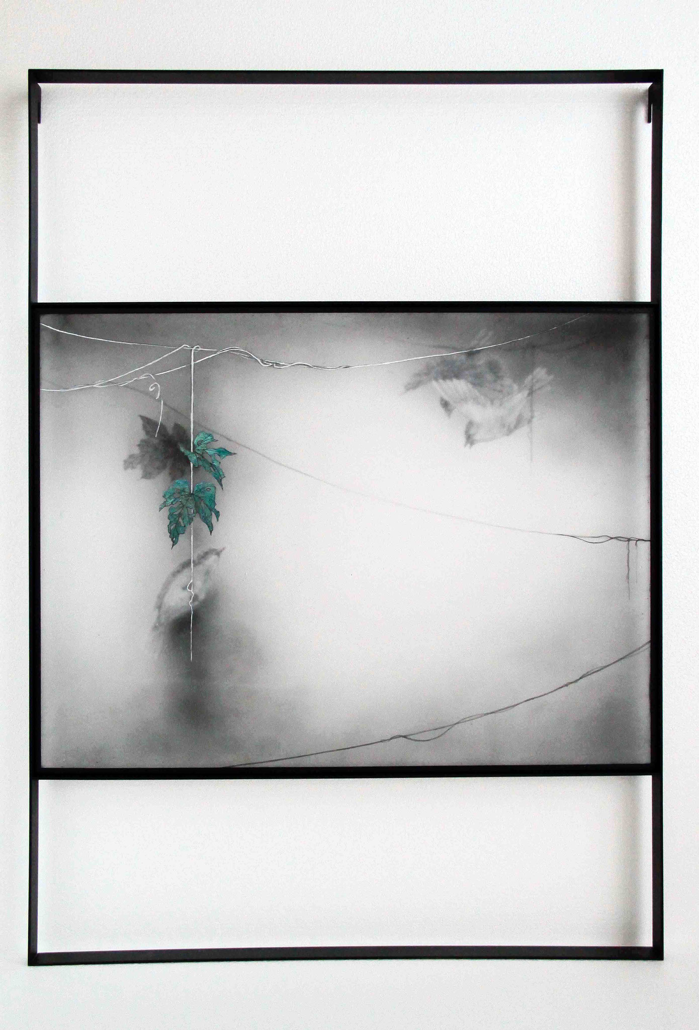 Untitled 2016/ 96cm×68.5cm×5cm/ Kiln cast, painted, Japanese ink, Metal frame