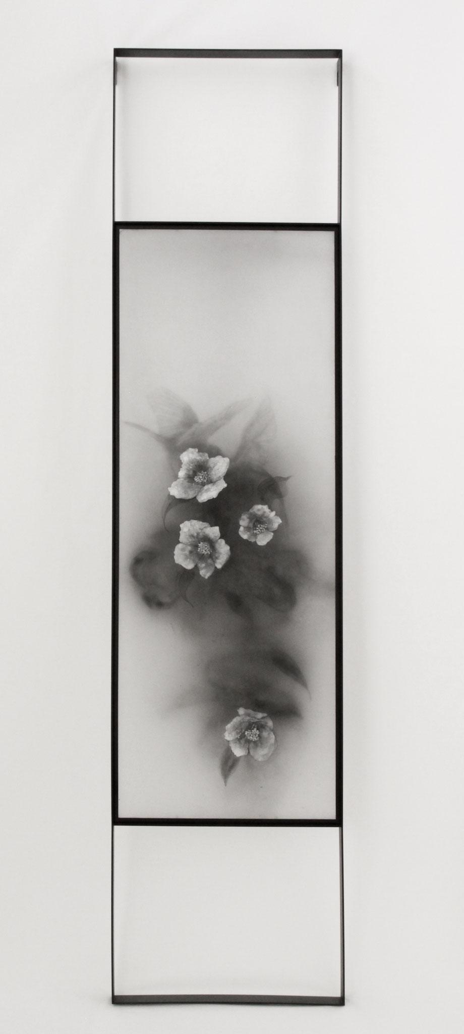 TSUBAKI#2, 2016/ 151.2cm×36.3cm×5cm/ Kiln cast, painted, Japanese Ink, Metal frame