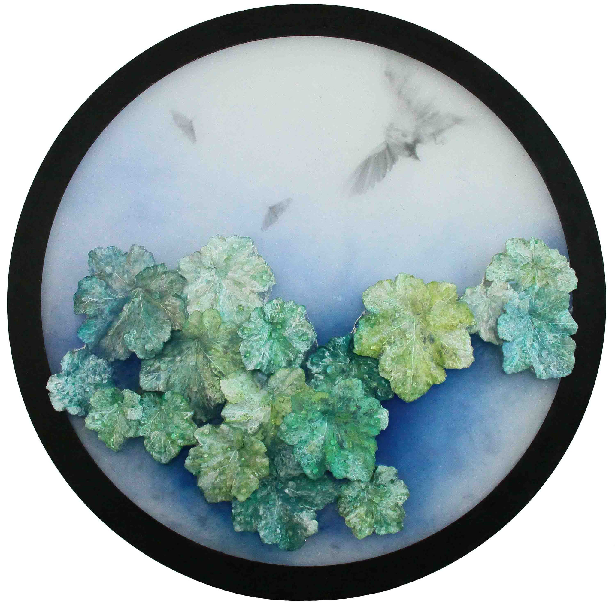 After the Rain~June~#1 (Heuchera) 2015/ 78cm×78cm×2.3cm / Kiln cast, Painted, Ink, Metal frame