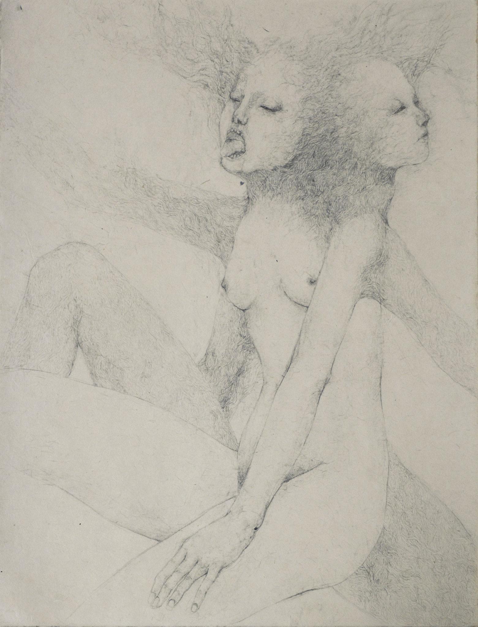 「黒い母」2016年/和紙、鉛筆/445x345mm