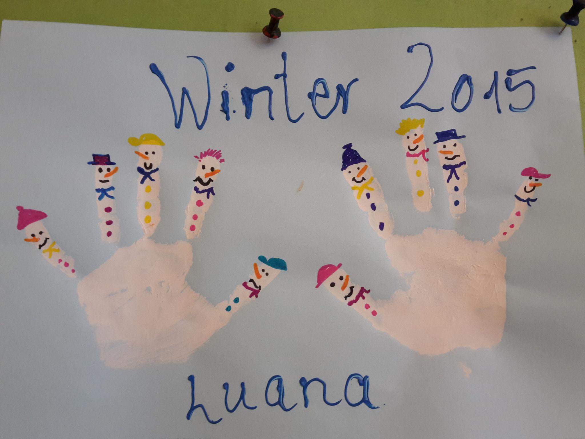 Winterbild  mit Händeabdruck