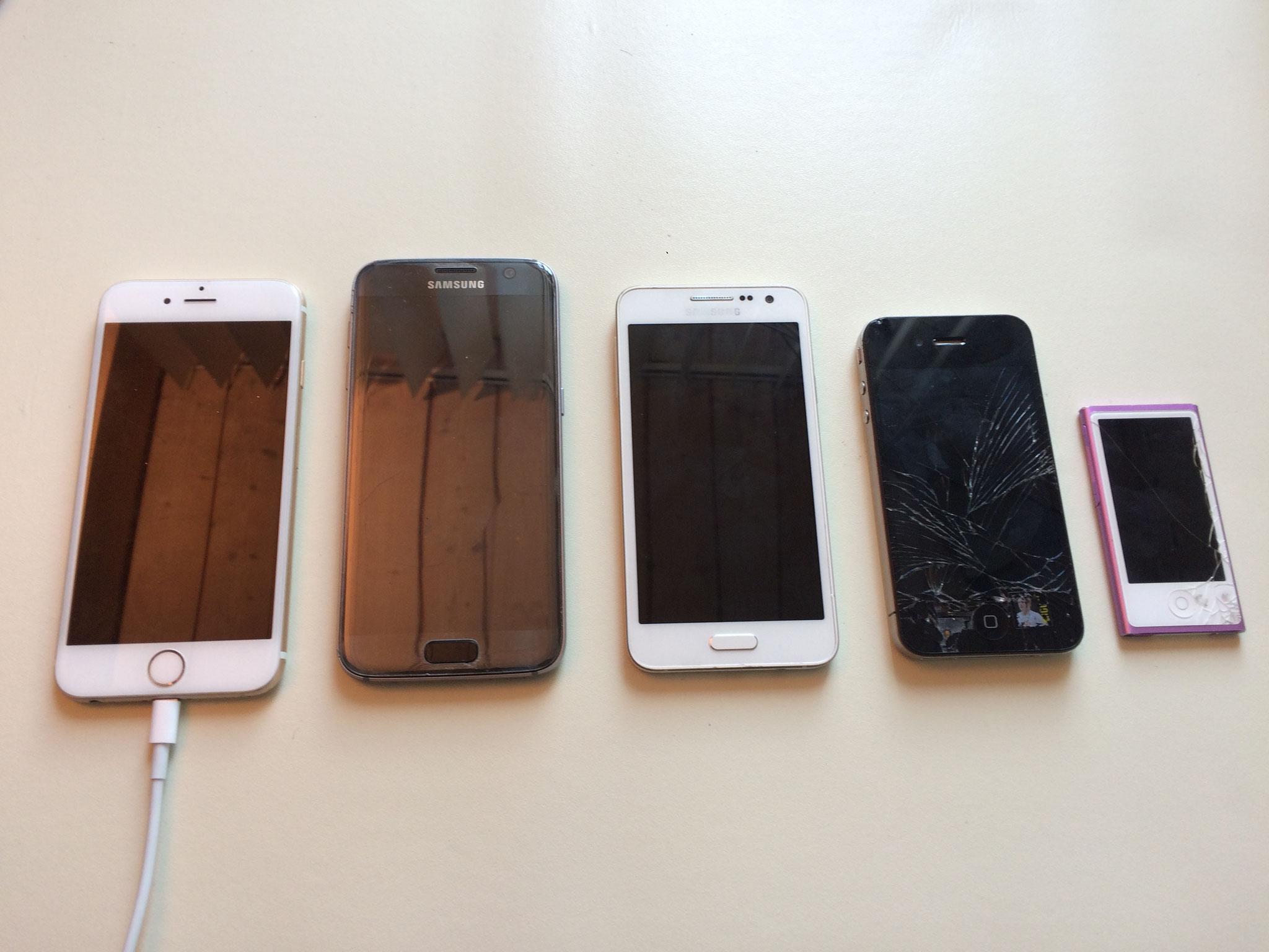 Tagesauftrag - Diverse Handys mit Displayschaden oder Batterie Problemen.