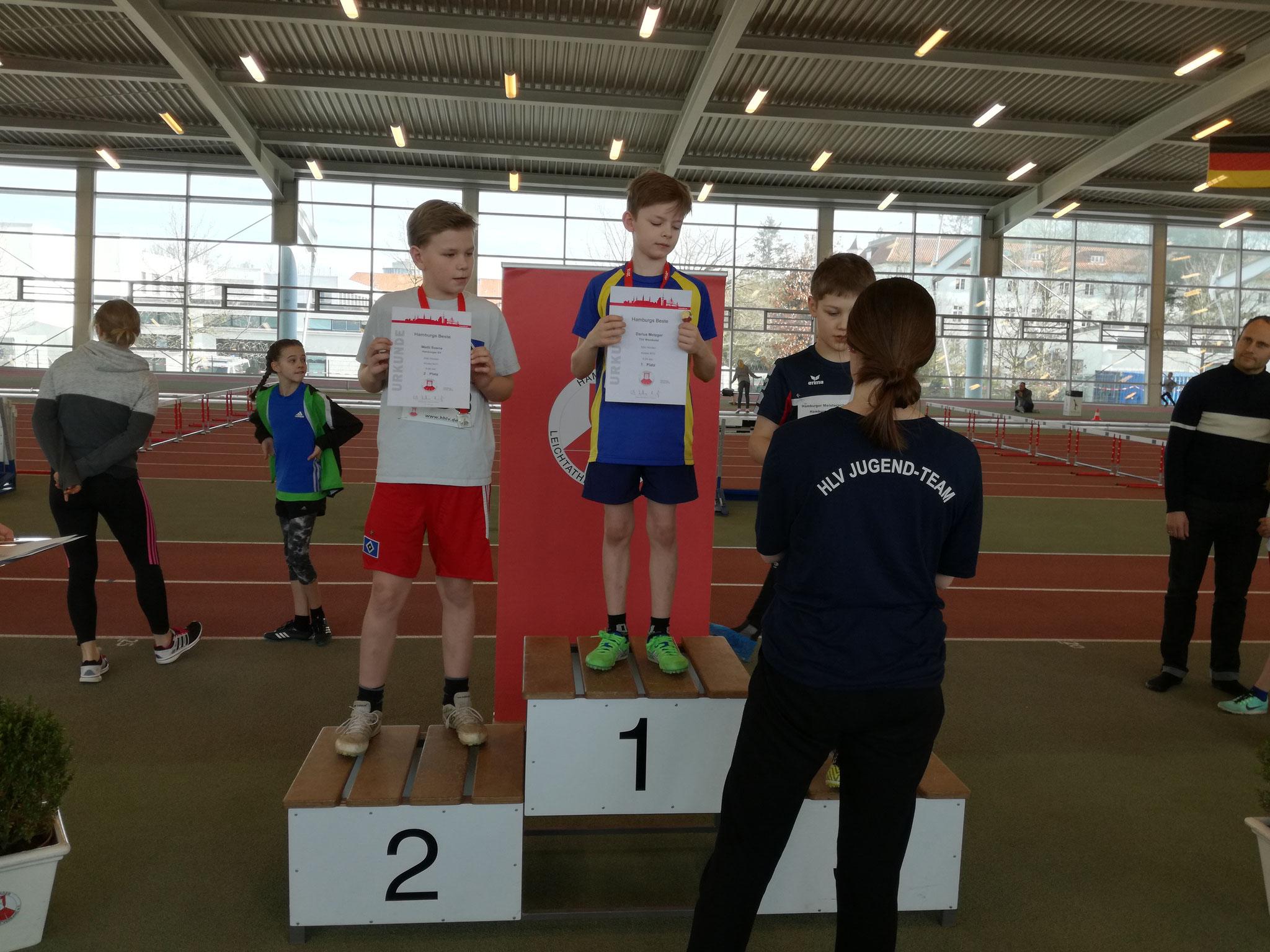 Darius, Hamburger Meister über 50 m Hürde, Platz 4 im 50 m Sprint