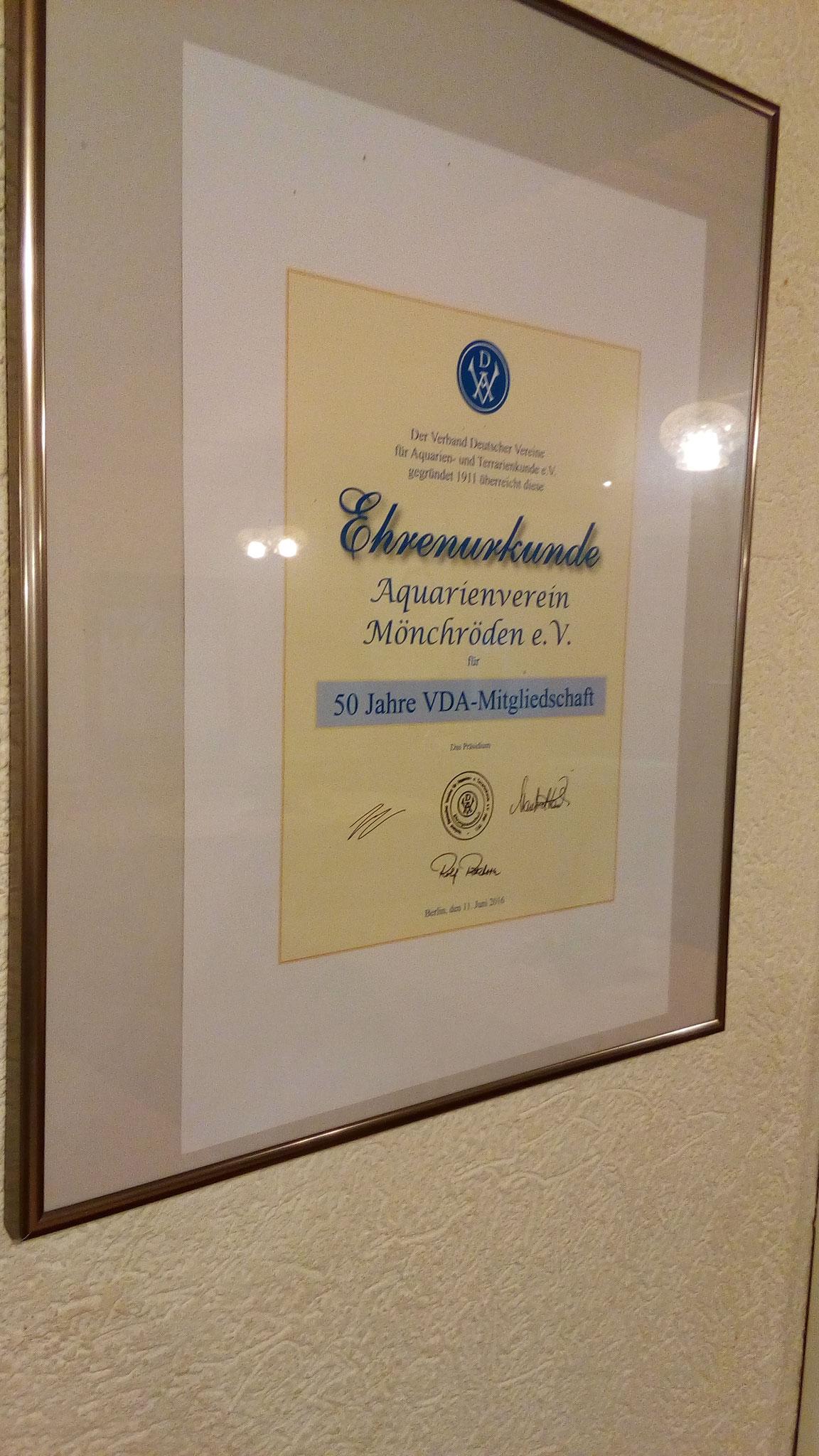 Urkunde über 50 Jahre VDA Mitgliedschaft