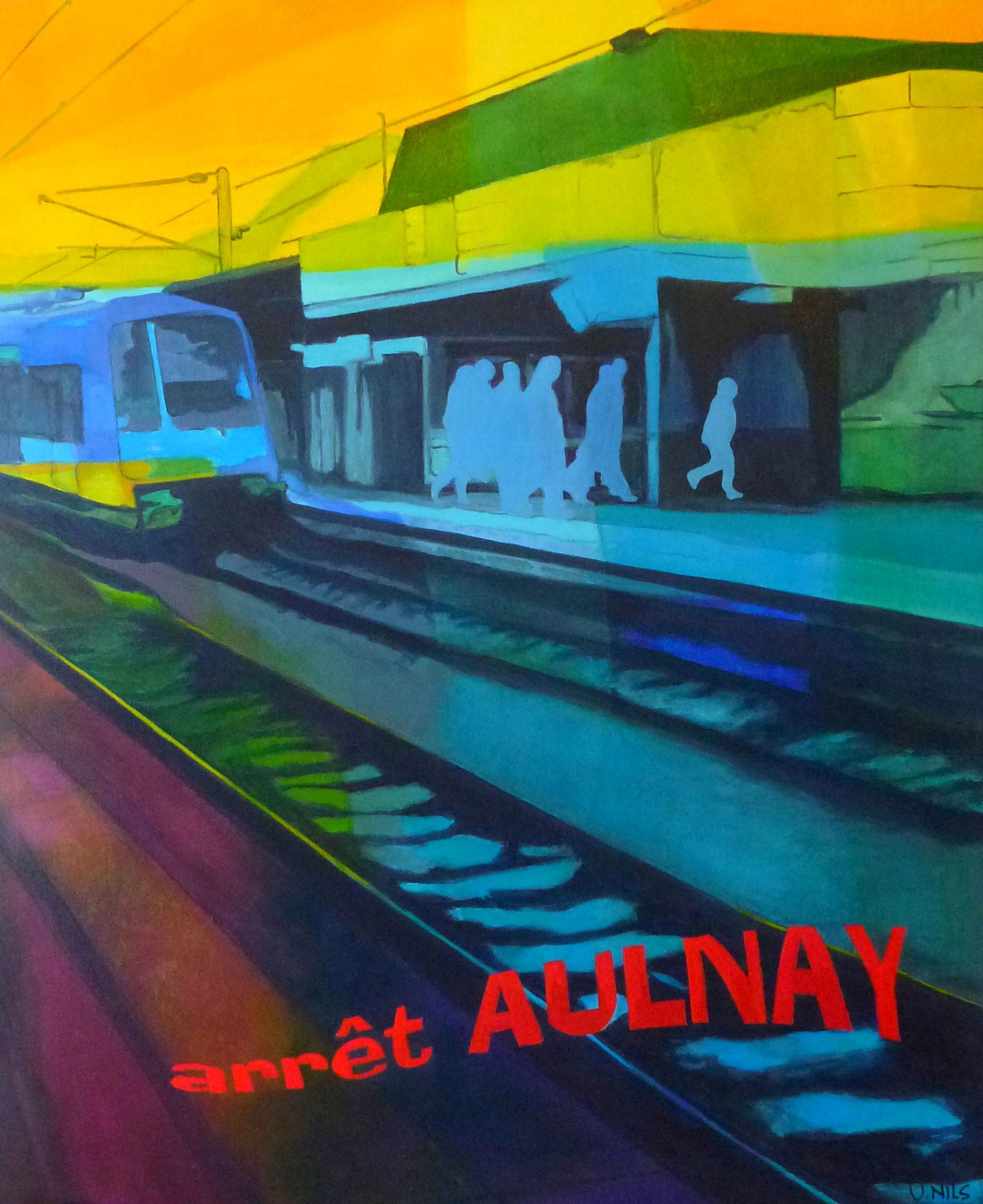 Arrêt Aulnay - Peinture acrylique sur toile - Victoria NILS