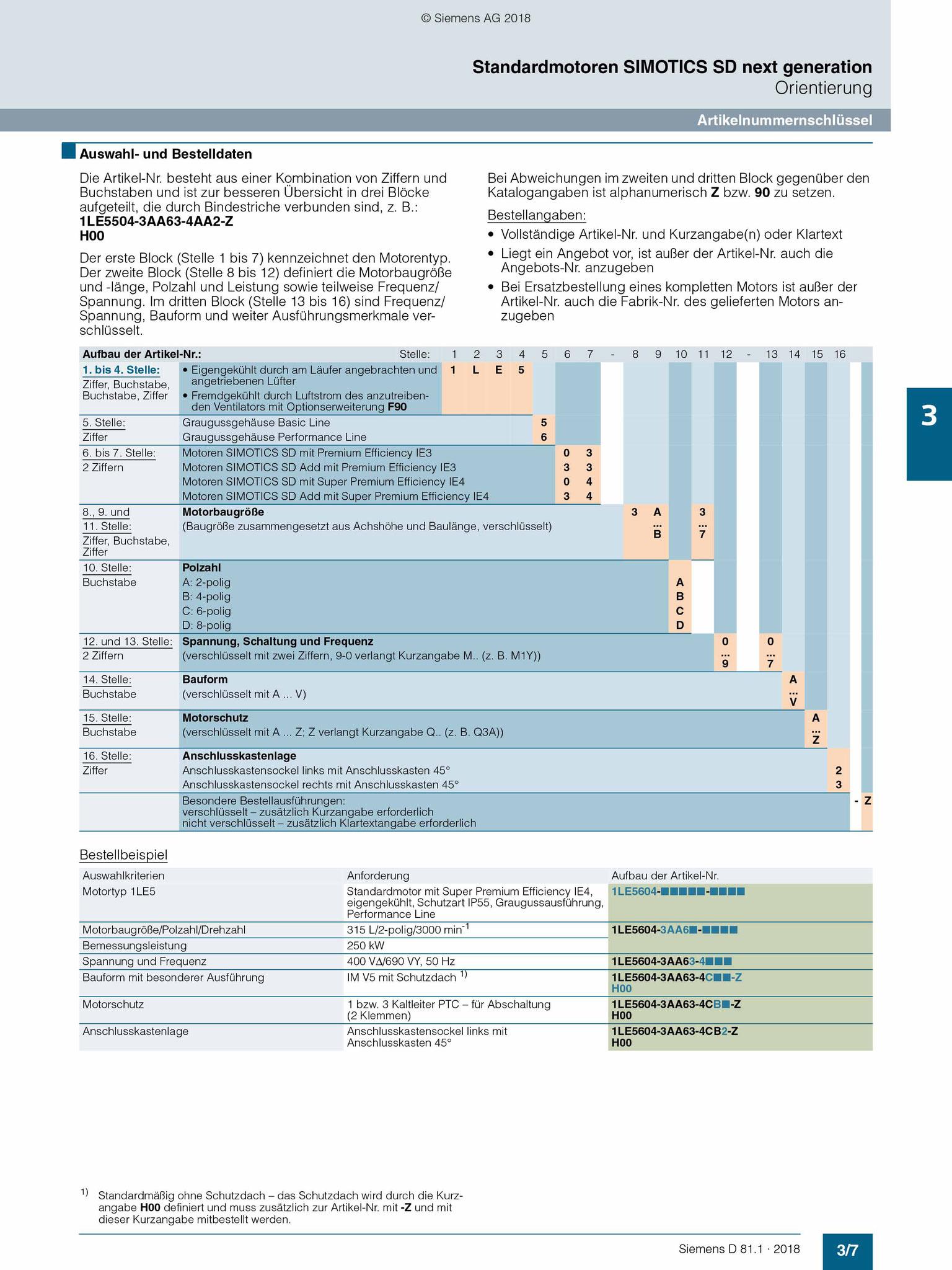 Siemens Katalog (D 81.1): Artikelnummernschlüssel Übersicht © Siemens AG 2020, Alle Rechte vorbehalten