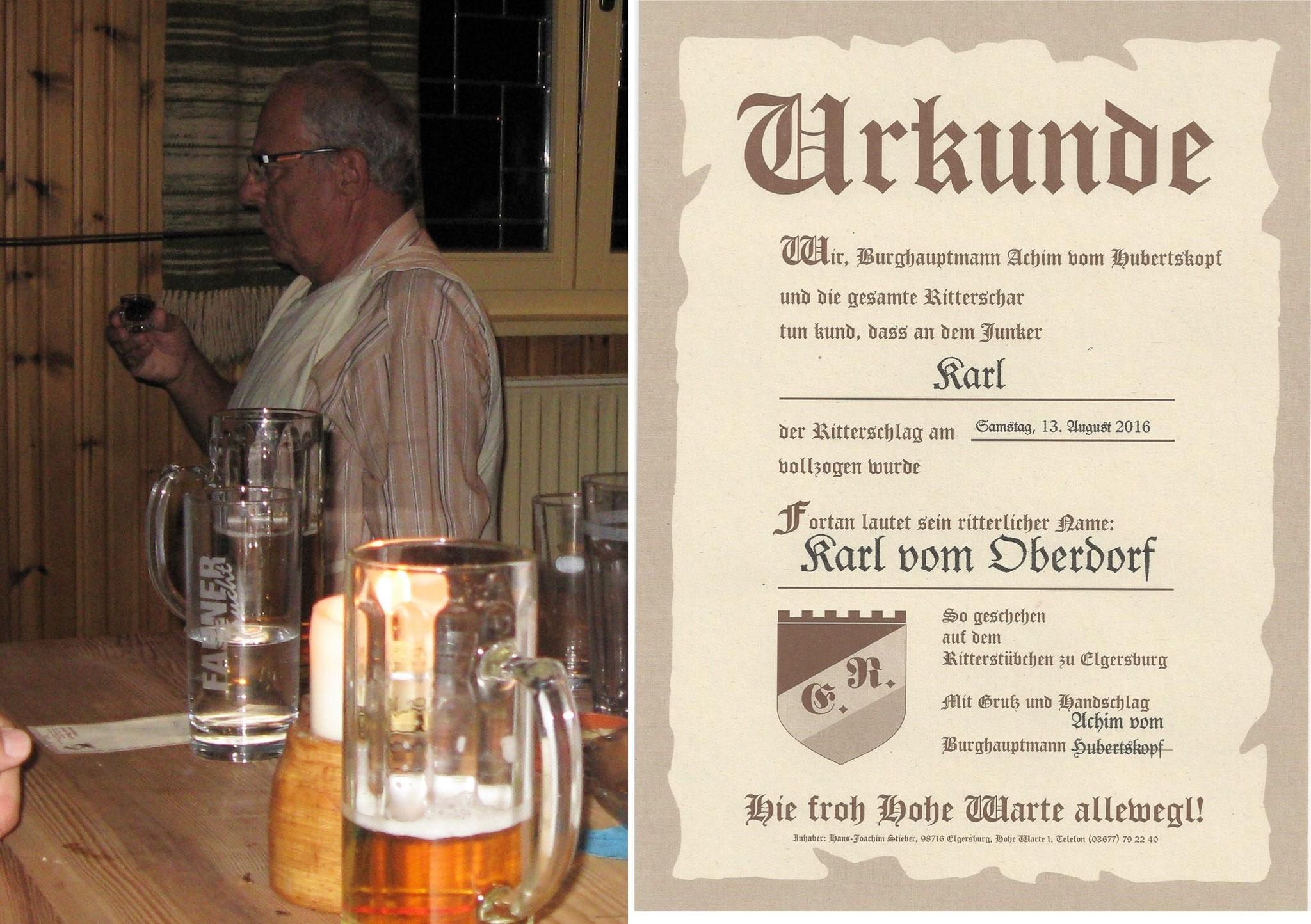 Ritter Karl vom Oberdorf und seine Urkunde