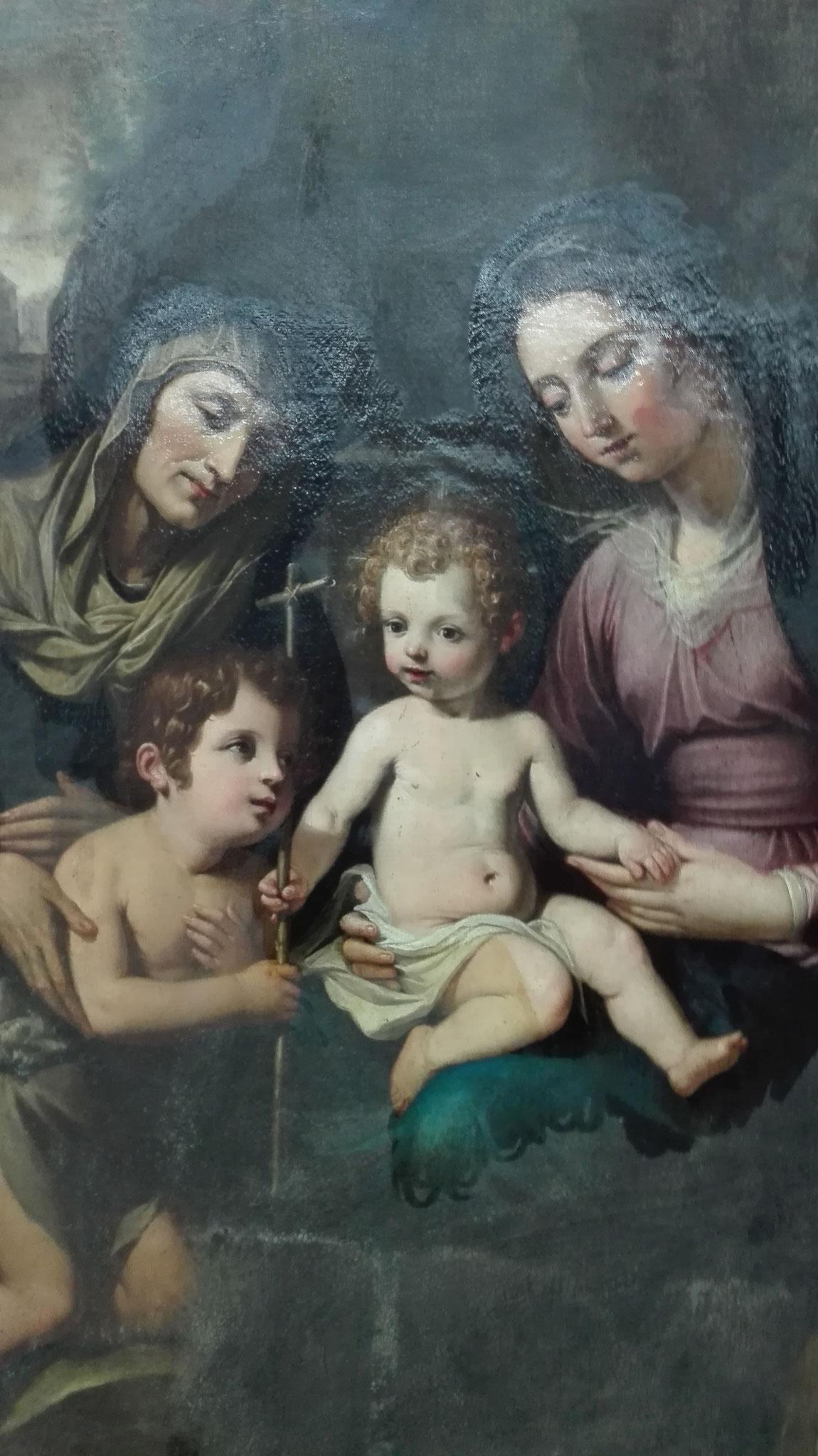 Virgen María con Niño Jesús, Santa Isabel y San Juan Niño. Proceso de limpieza. Eliminación de barnices oxidados y repintes.