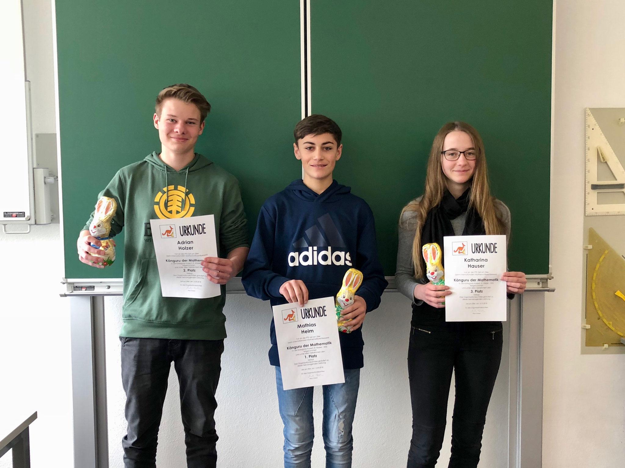 Sieger Gruppe 2: Adrian Holzer (Platz 2), Mathias Heim (Platz 1), Katharina Hauser (Platz 3)