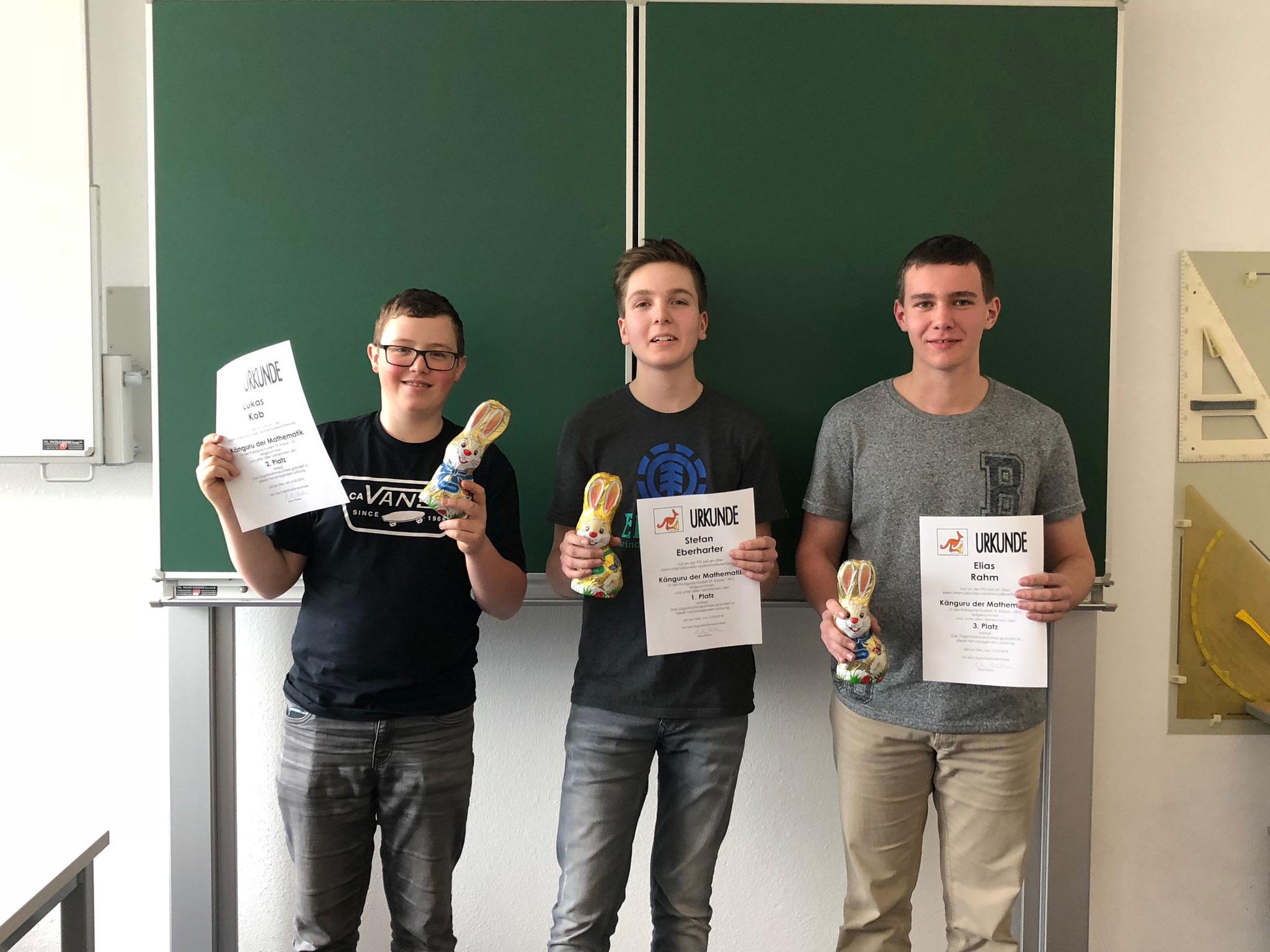 Sieger Gruppe 1: Lukas Kob (Platz 2), Stefan Eberharter (Platz 1), Elias Rahm (Platz 3)