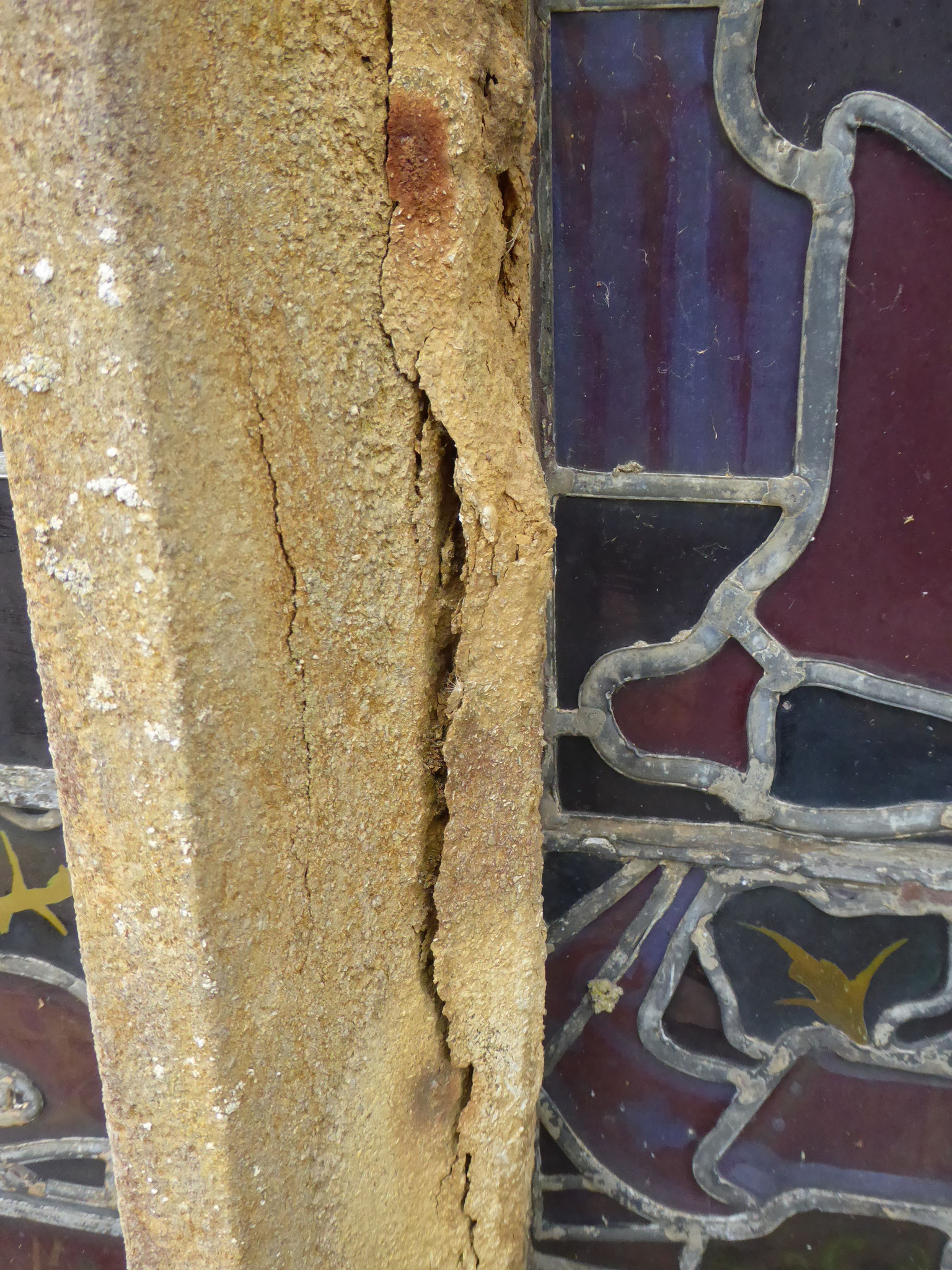 Corroding stonework