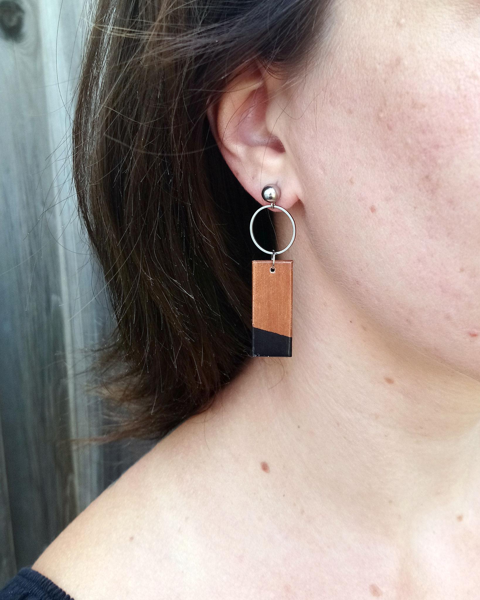 Boucles d'oreilles rectangles en bois du Québec