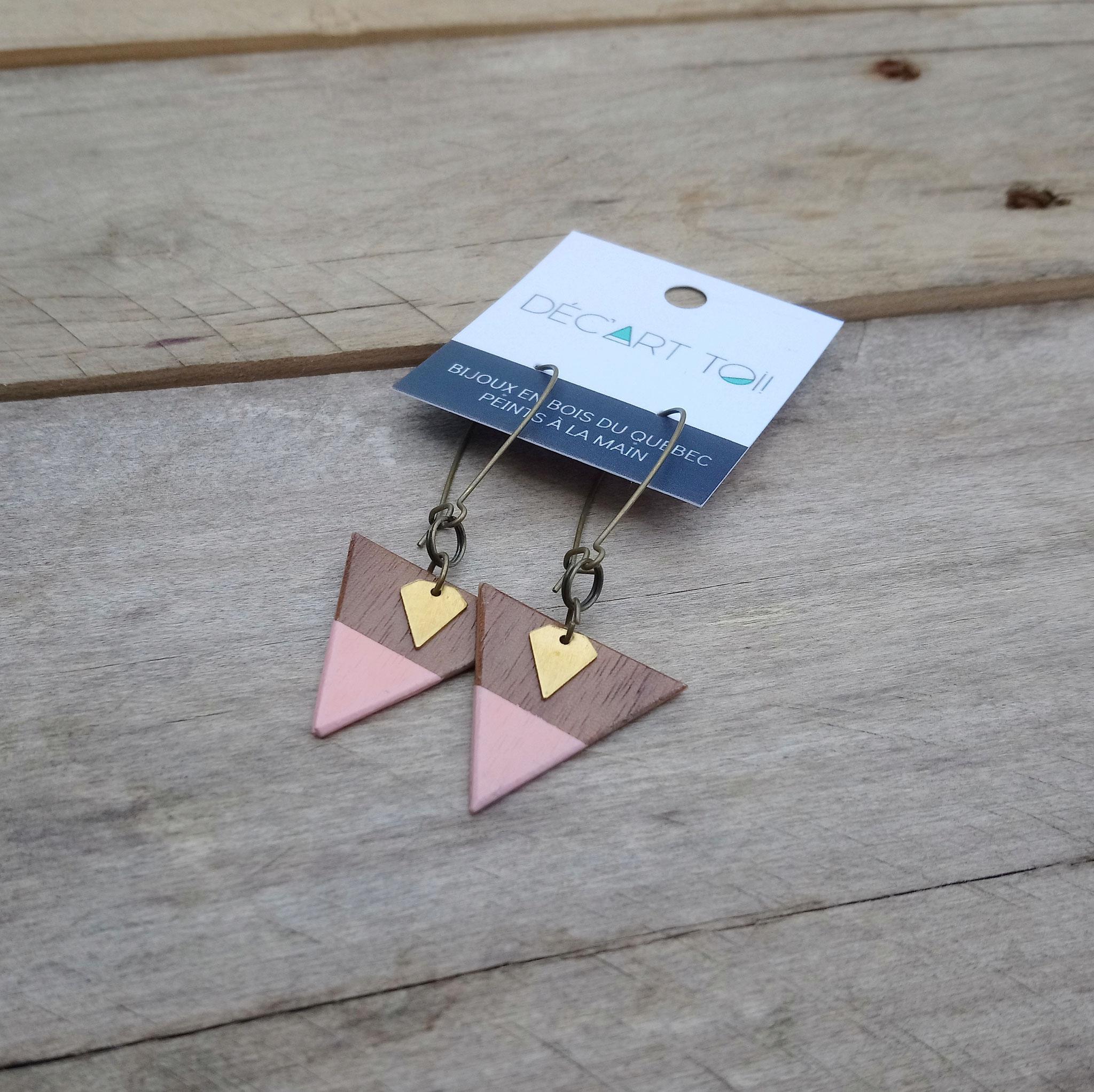Boucles d'oreilles triangles avec diamants de laiton doré