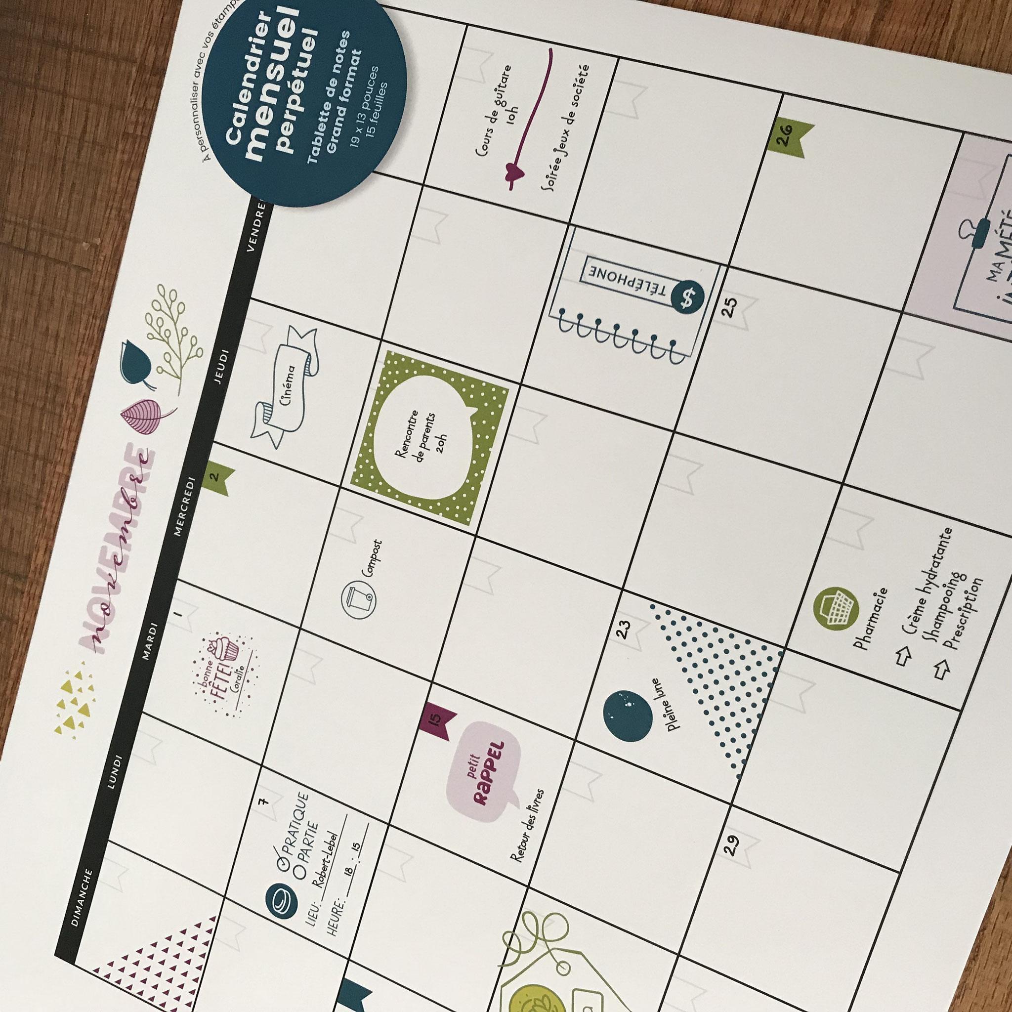 Calendrier mensuel perpétuel à personnaliser à l'aide d'étampes