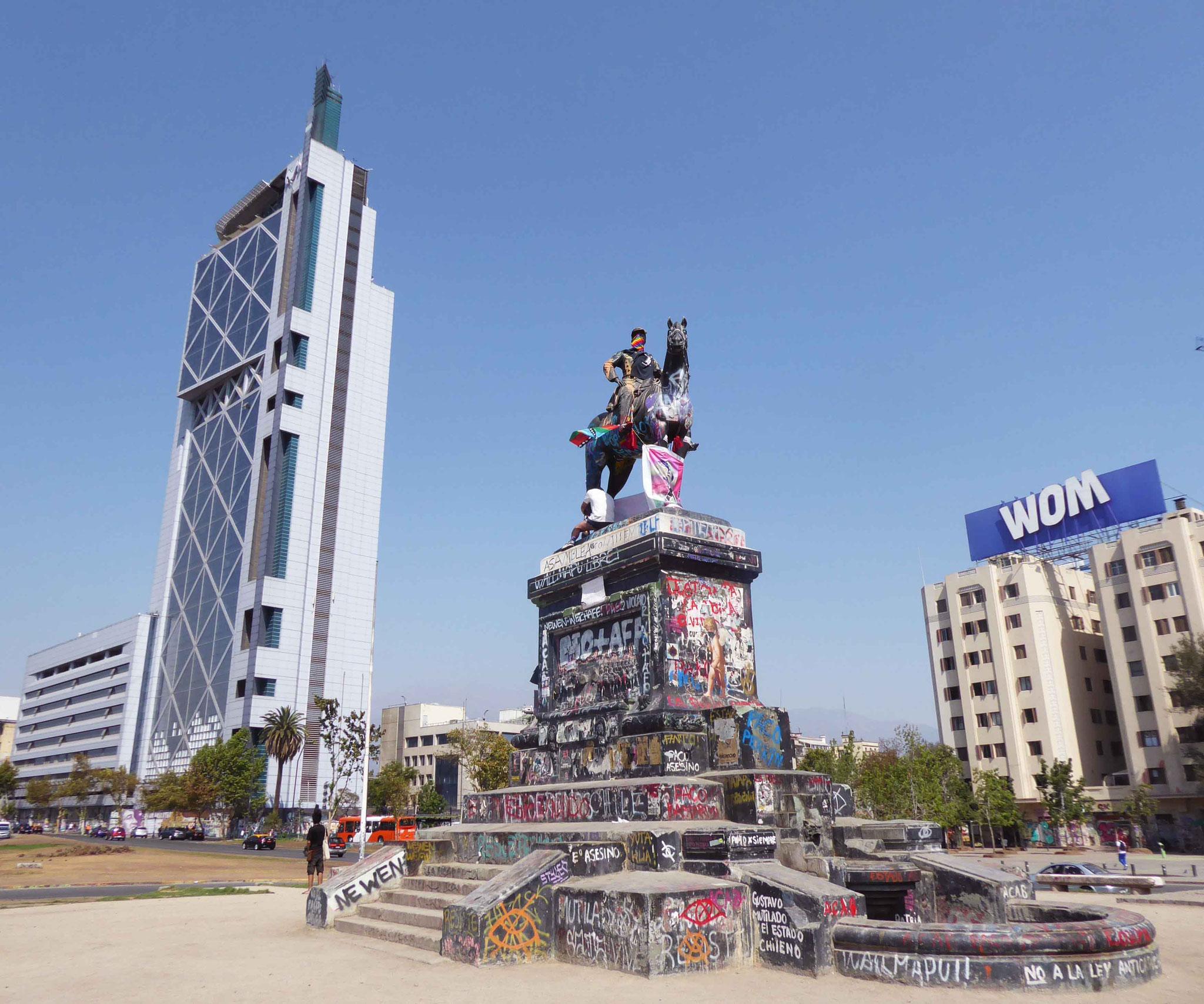 Tristement célèbre, la Plaza Italia d'où partent les principaux soulèvements de la population