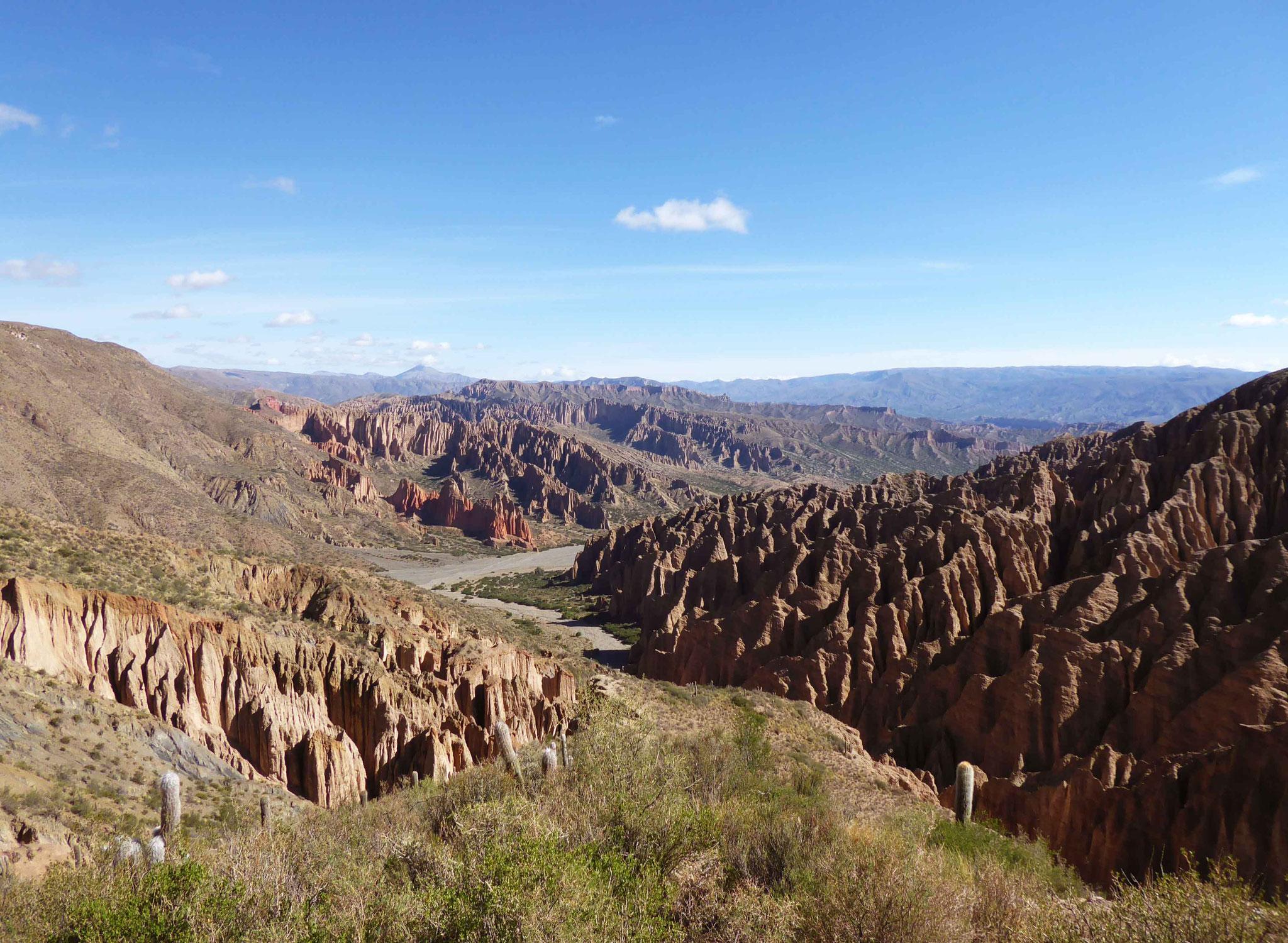 Depuis la piste de Tupiza à San Vicente, point de vue sur la quebrada el Sillar
