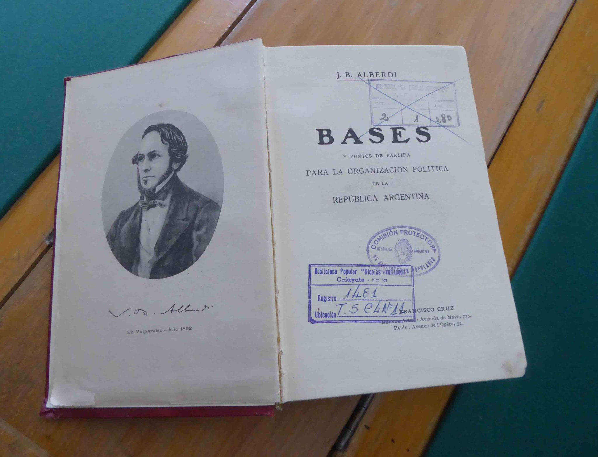 """Petit bijou déniché : les """"Bases"""" de la Constitution argentine de Juan Bautista Alberdi (adoptée en 1853)"""