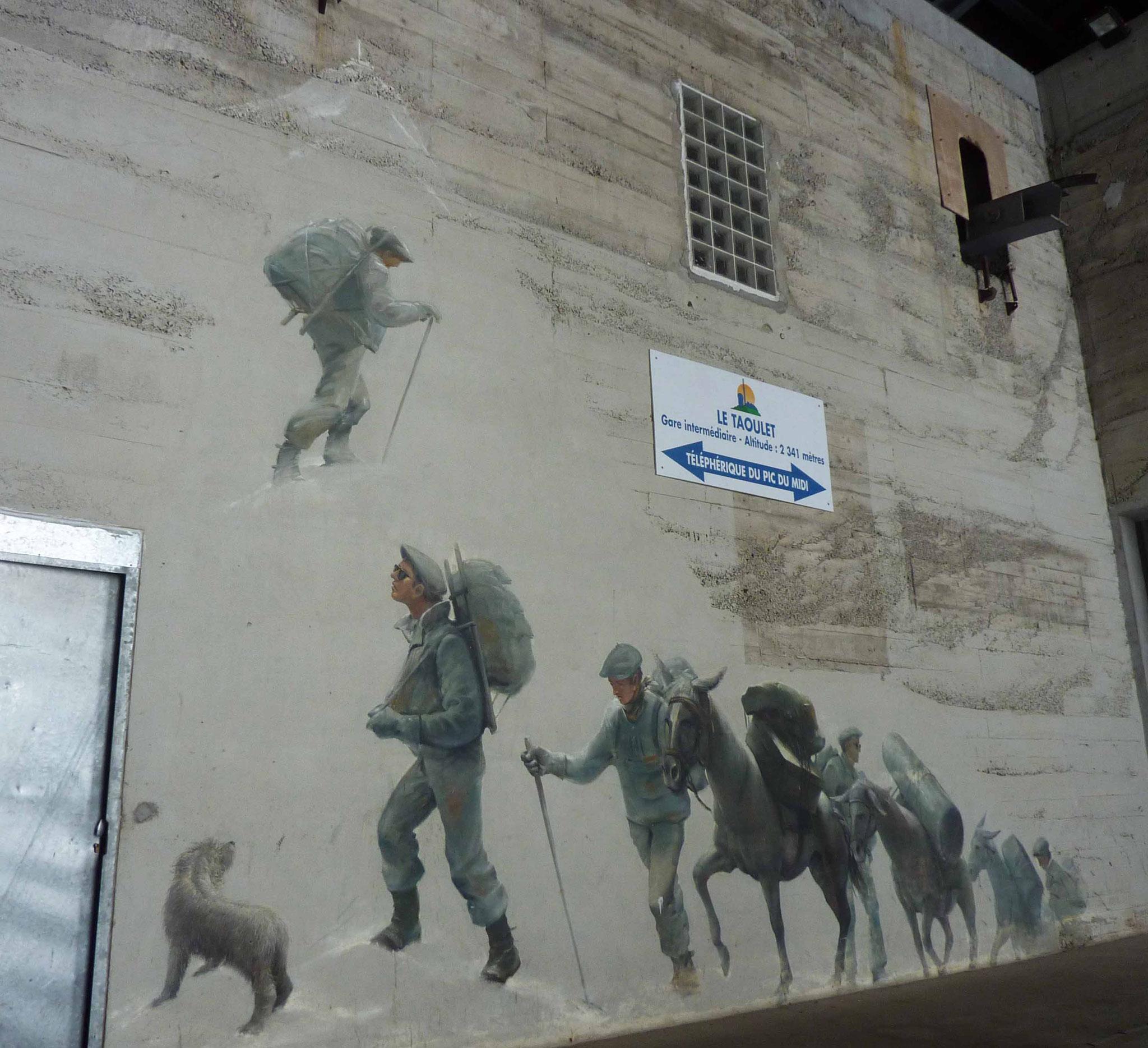 Fresque murale de Bruno Schmeltz retraçant la grande aventure du Pic