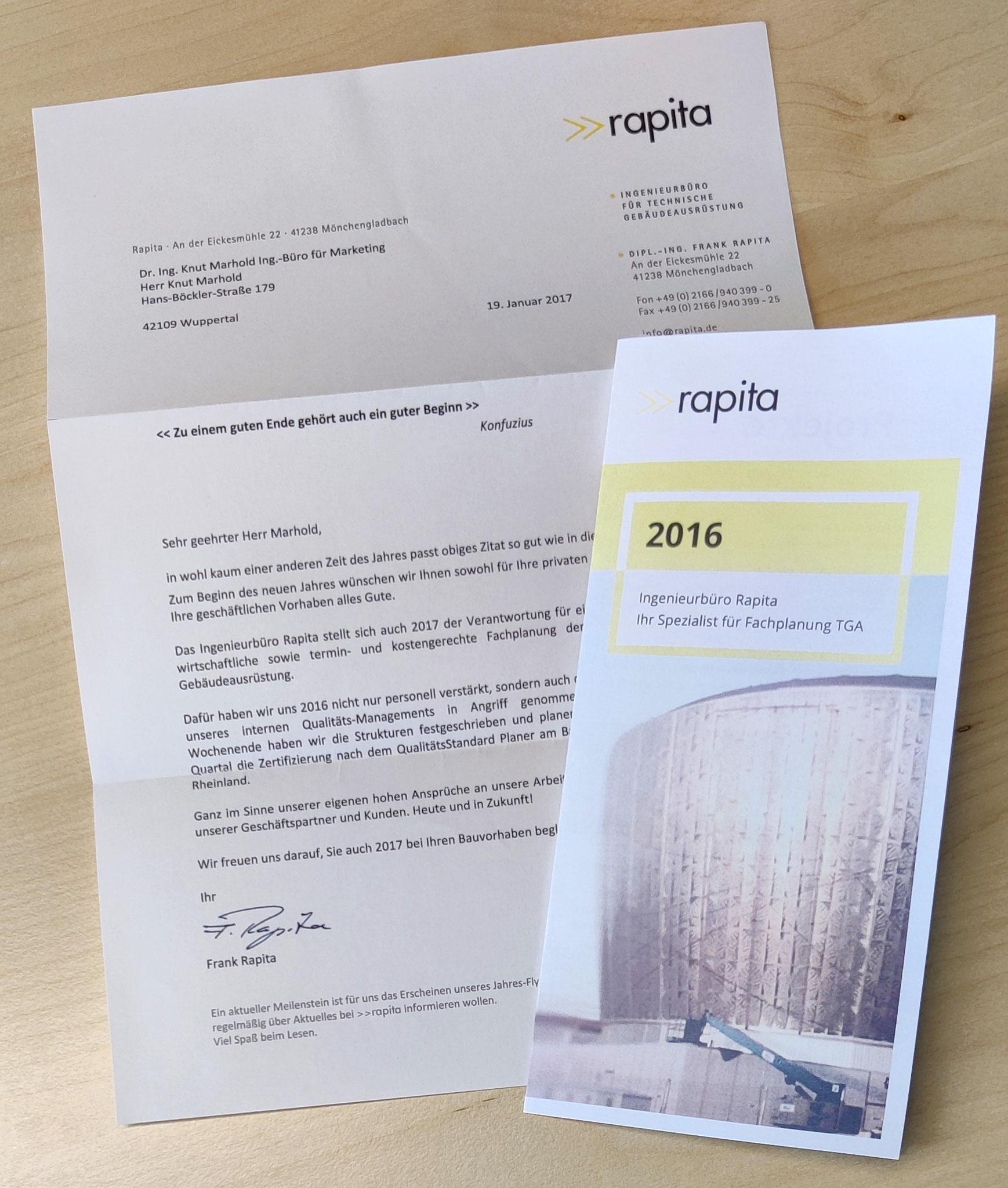 Neujahrsbrief rapita mit Jahres-Flyer (Idee/Konzept/Text: marketingINGenieur, Layout: externe Agentur)