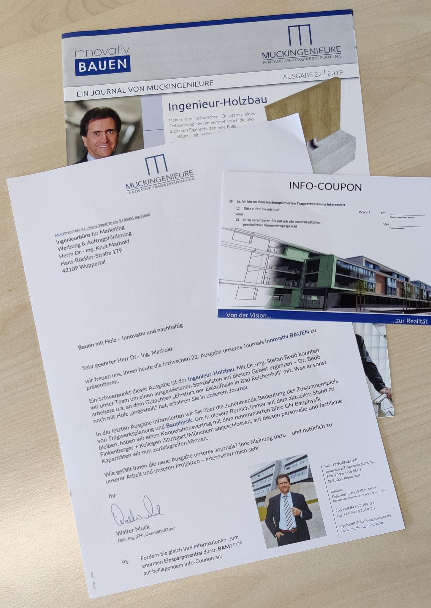 Neujahrsbrief MUCKINGENIEURE mit Kundenzeitung und Antwortkarte (Idee/Text/Layout: marketingINGenieur)
