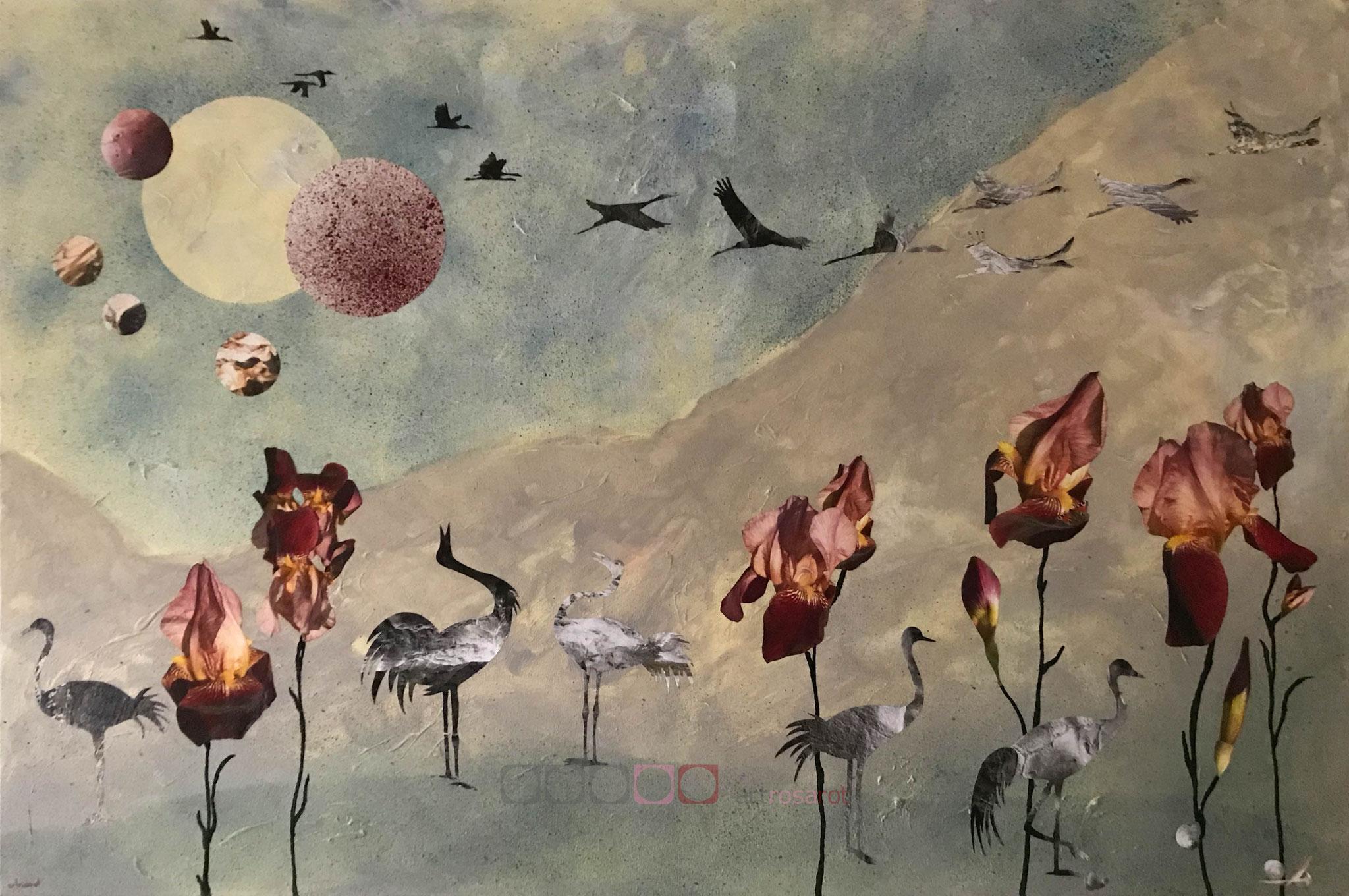 Kraniche rufen zu anderen Kranichen am Himmel auf einem Gemälde von artrosarot aus Berlin