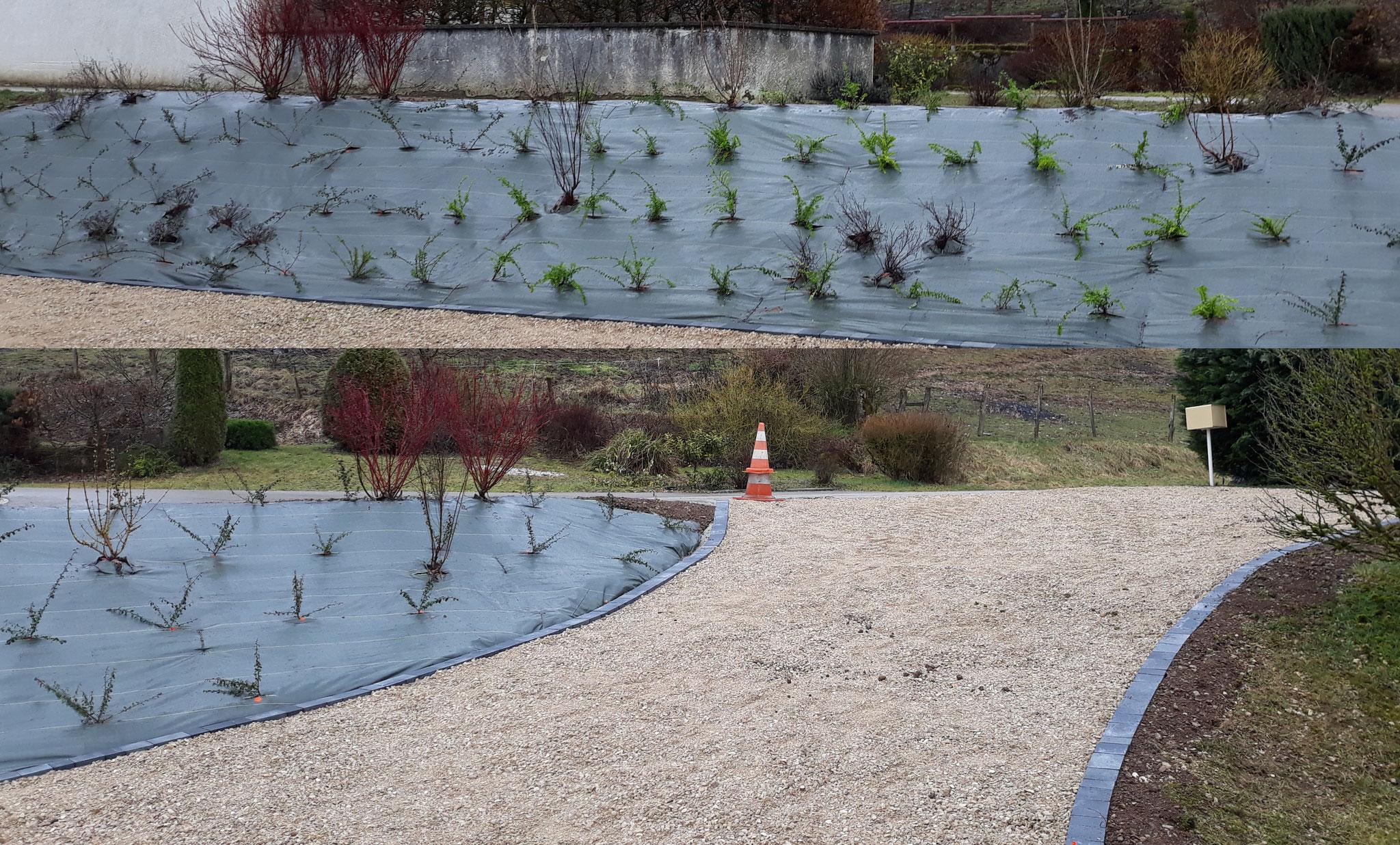 Végétalisation d'un talus et création de bordure pavés gris moderne