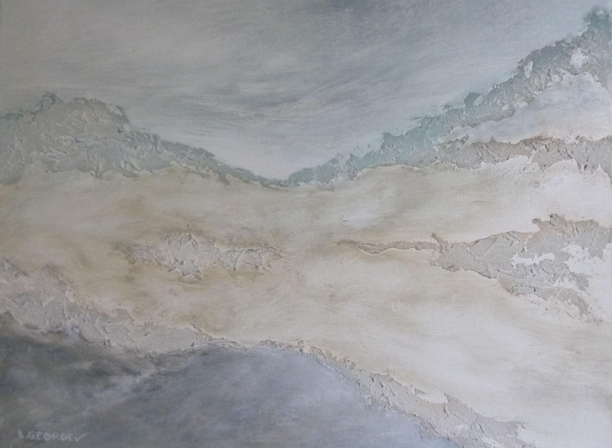 ESPACE, techniques mixtes sur toile, 40x50cm