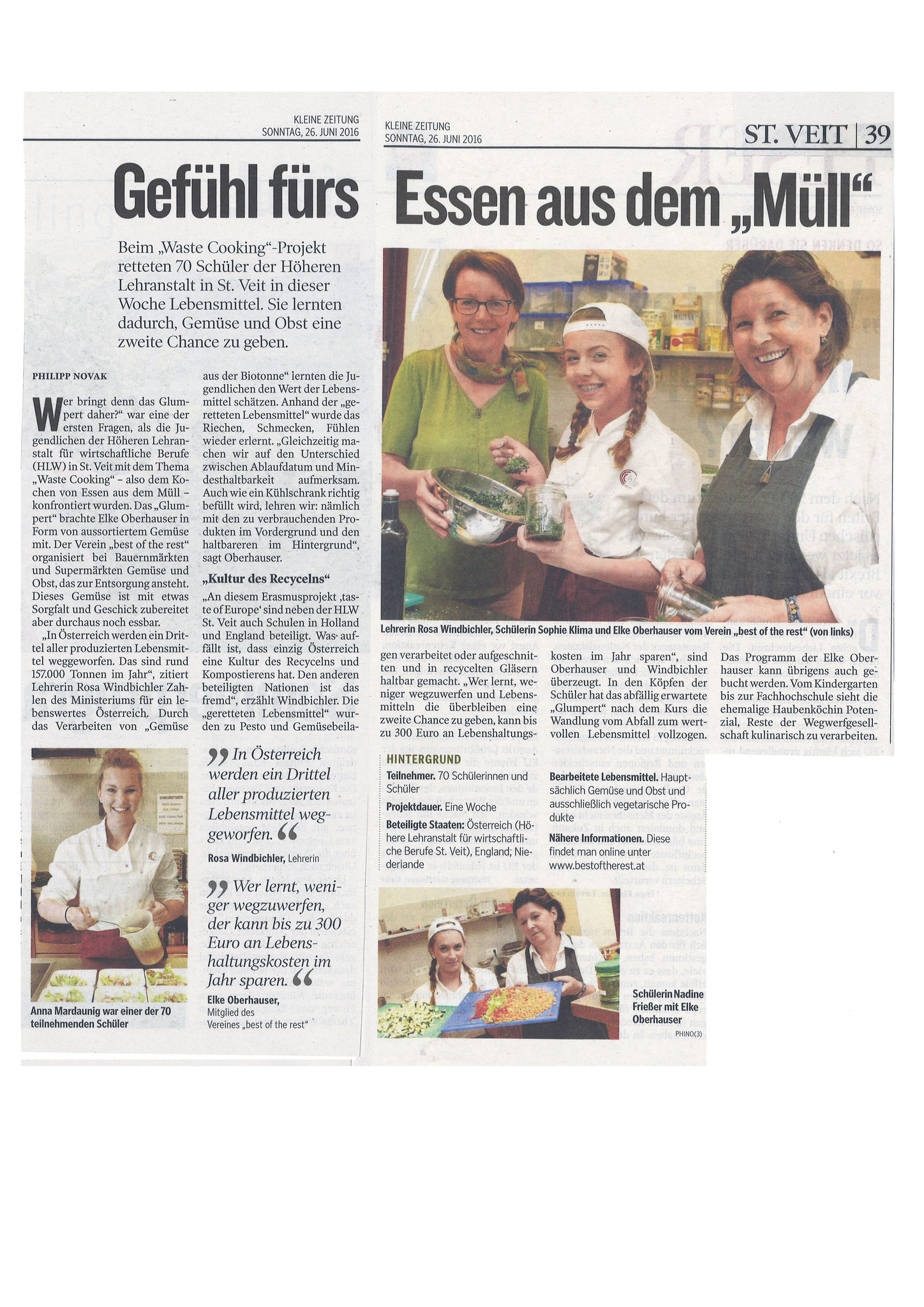HLW: Newspaper article about Wastecooking St. Veit, June 2016 (DE)