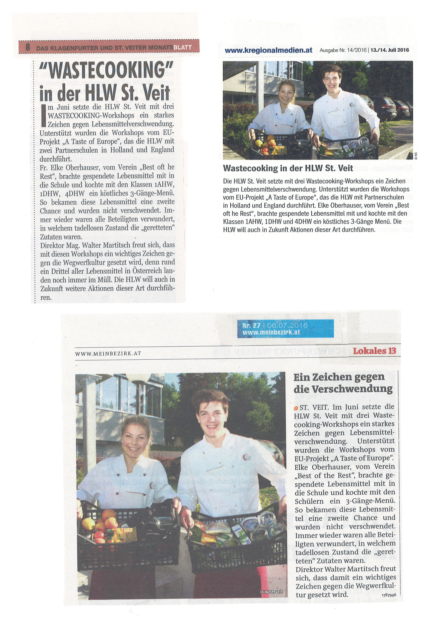 HLW: Newspaper article about Wastecooking St. Veit, July 2016 (DE)