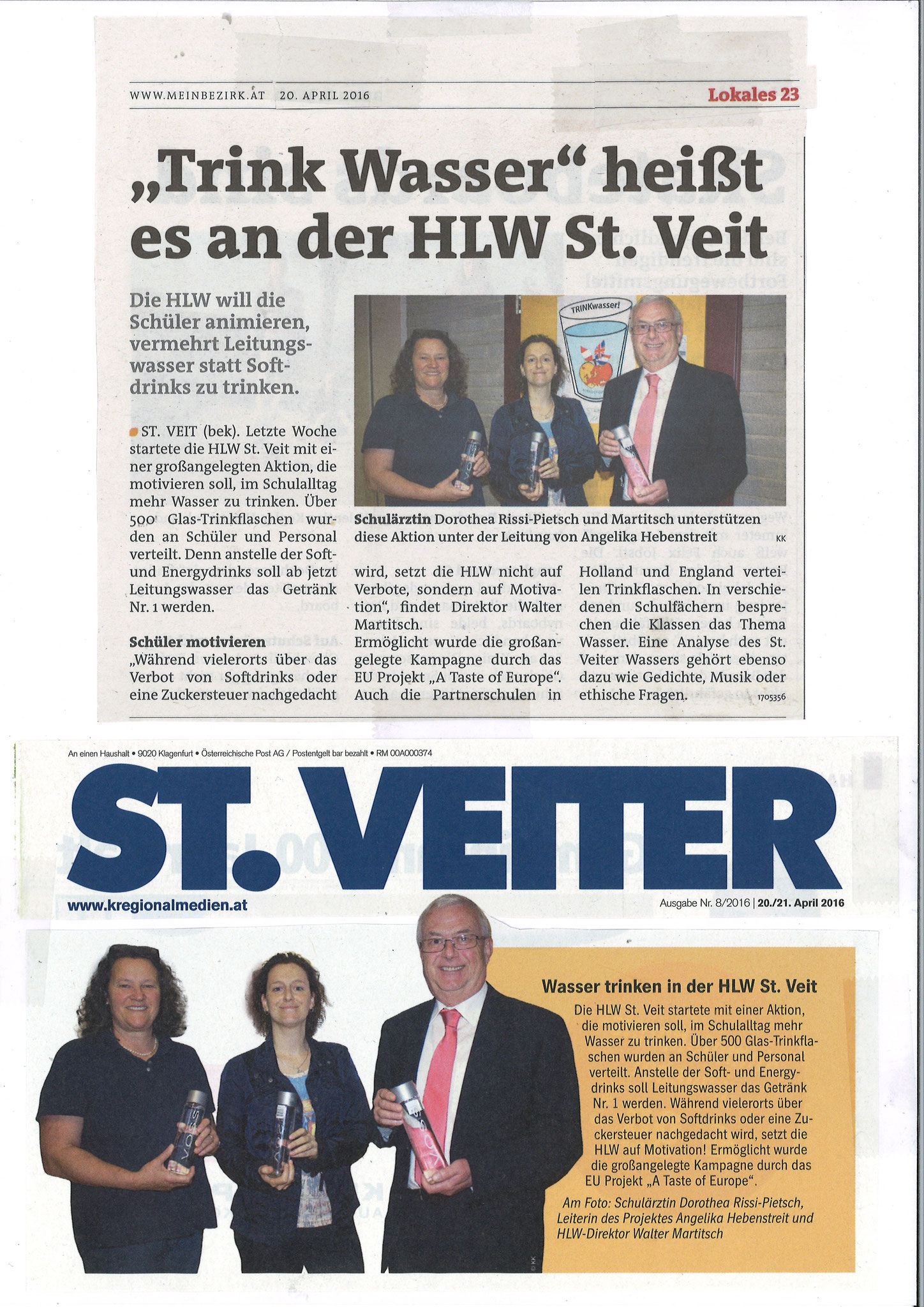 "HLW: Newspaper article about ""DRINKINGwater""  HLW St. Veit, April 2016 (DE)"