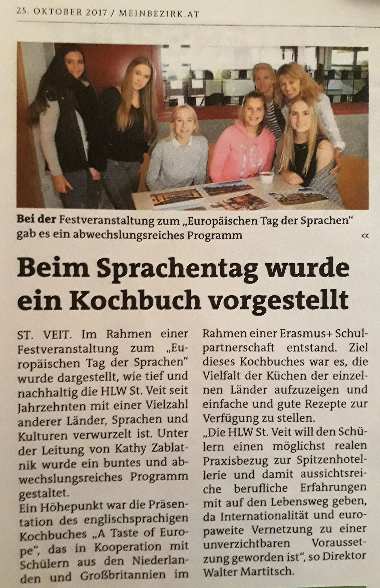 HLW: Newspaper article about recipe book presentation 2017 (DE)
