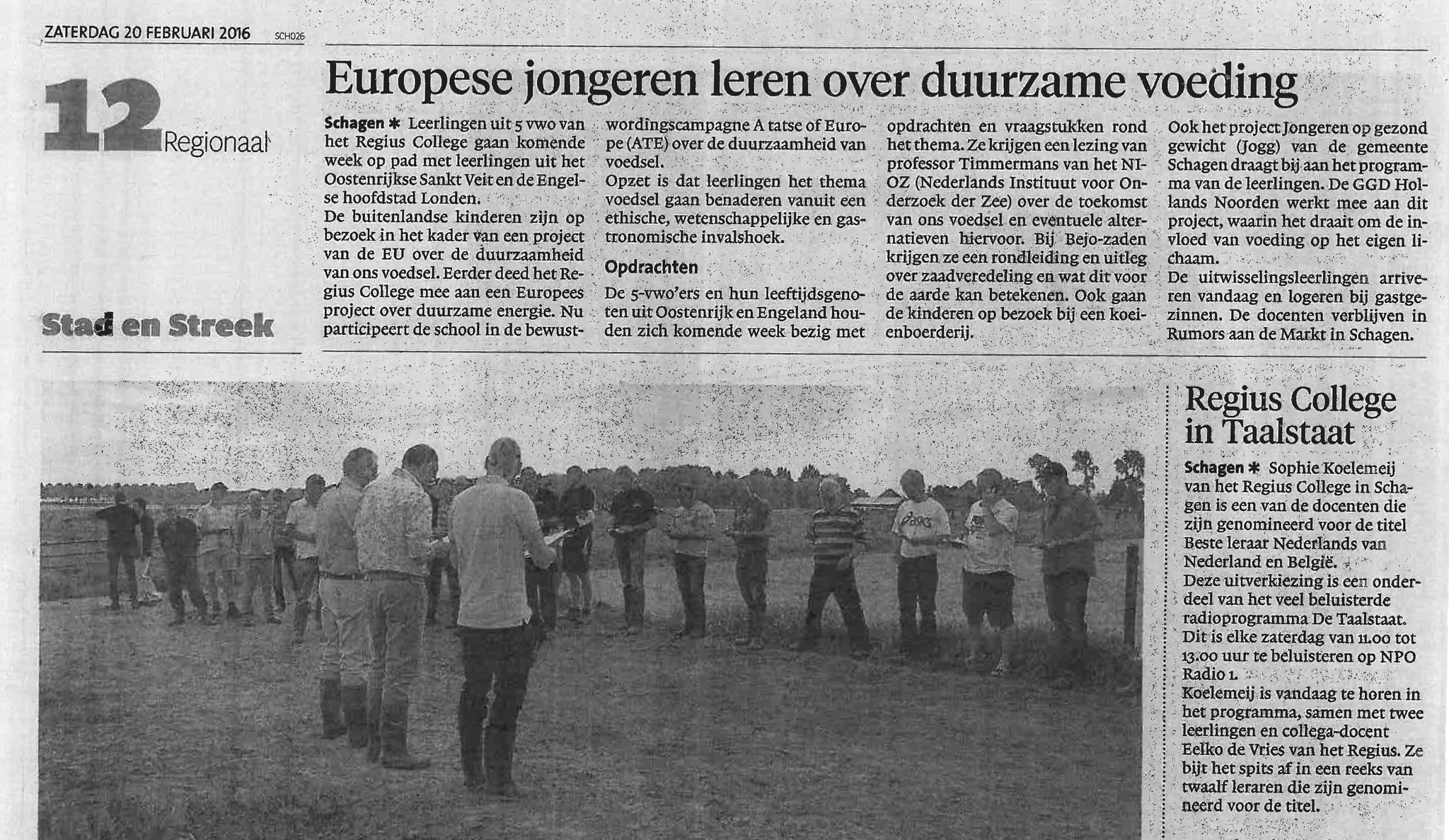 RC: Newspaper article about short term exchange Schagen, Feb 2016 (NL)