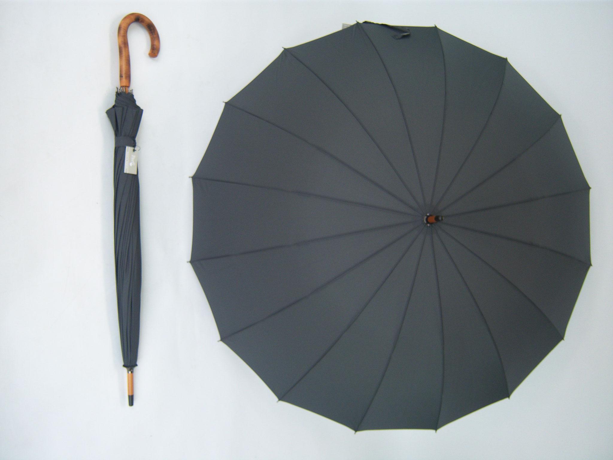 613 'Parfi Sixteen' zwart met 16 baleinen in glasvezel kleur donker grijs