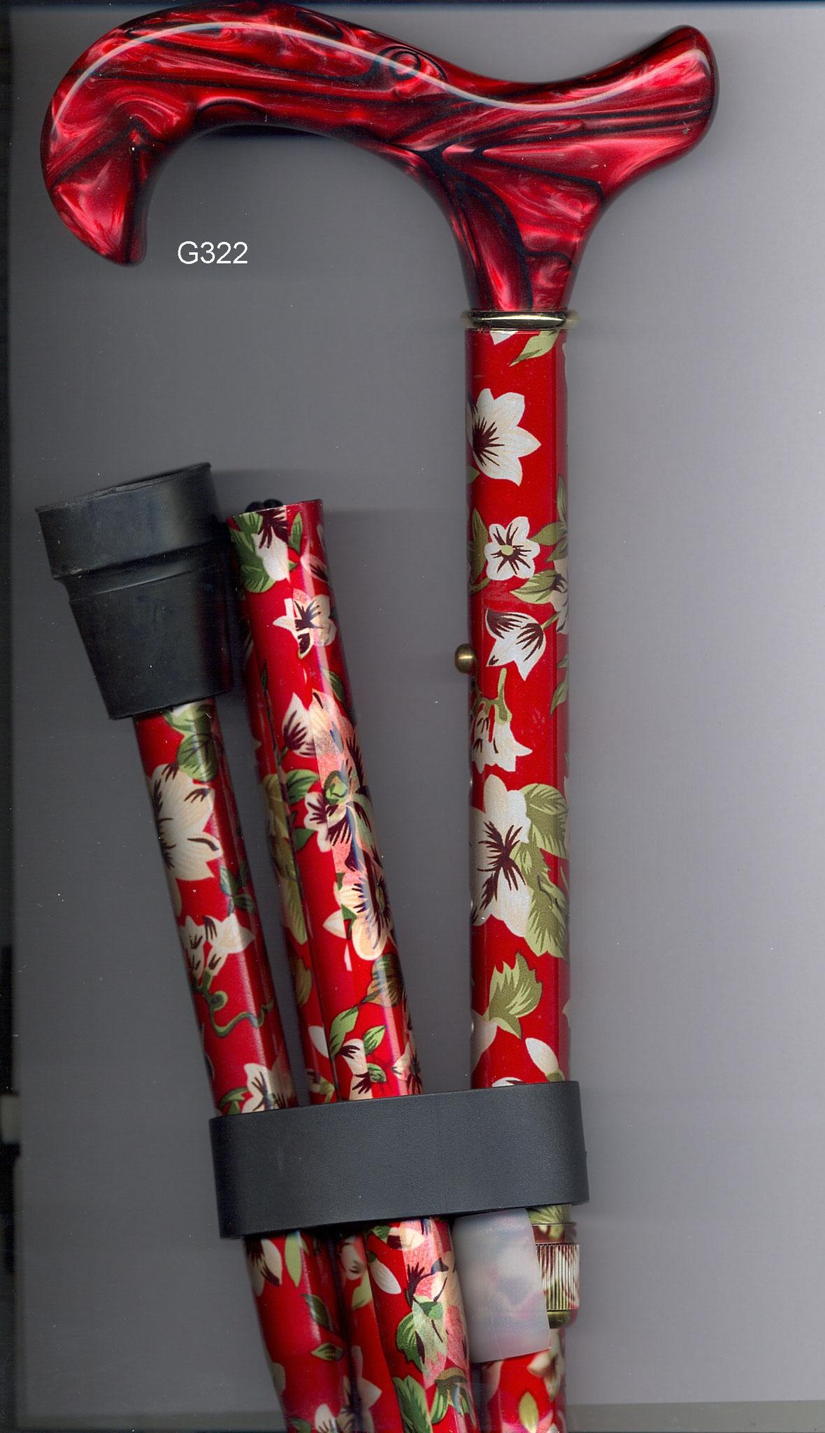 G322 Opvouwbaar steunstok alu rood met bloemen en bruin handvat