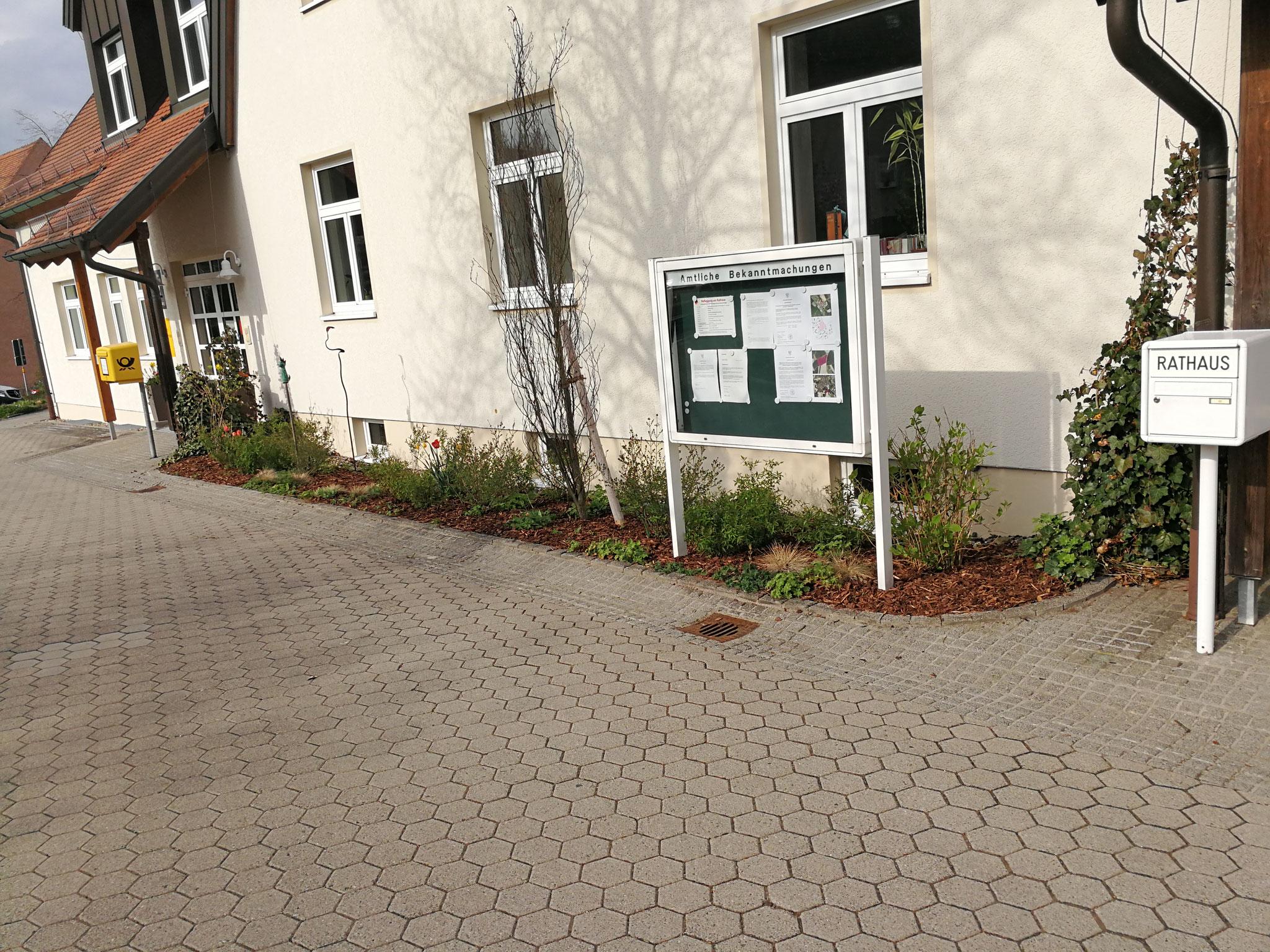 Gemeinde Heinersreuth Rathaus ( Unkraut entfernt und mit Rindenmulch verschönert )