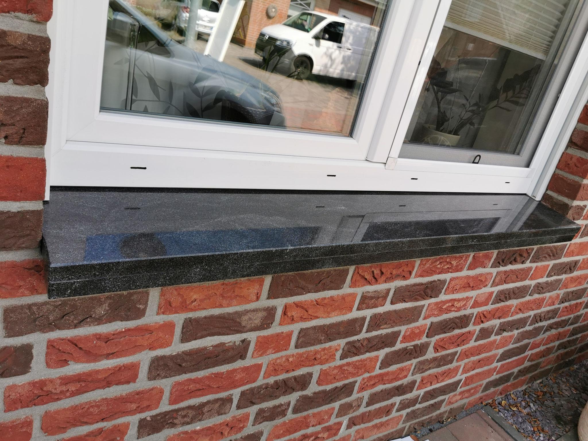 Nachher - Aus Alufensterbänken wurden schöne Granitfensterbänke