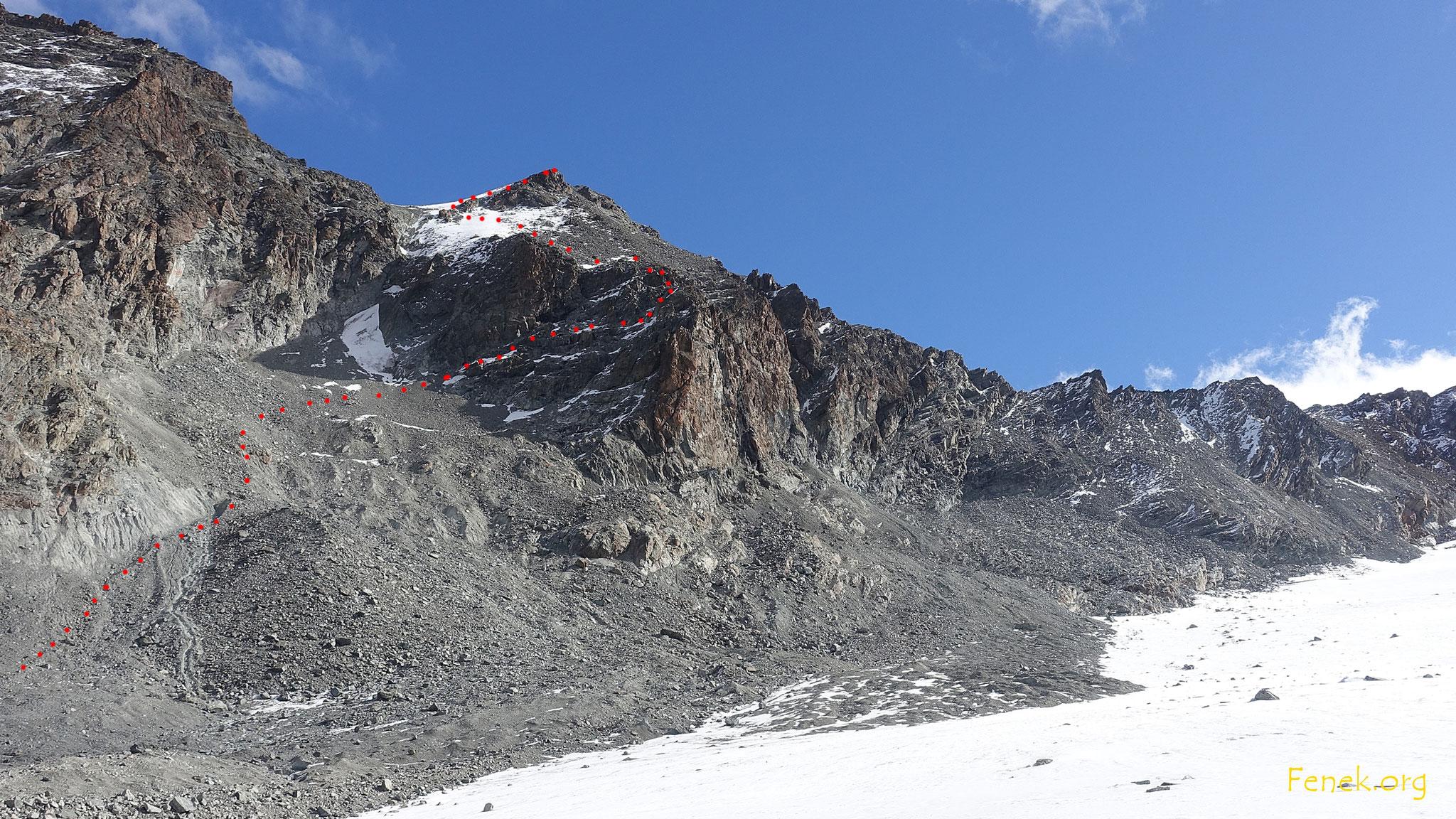 zurück auf dem Gletscher - Routenübersicht
