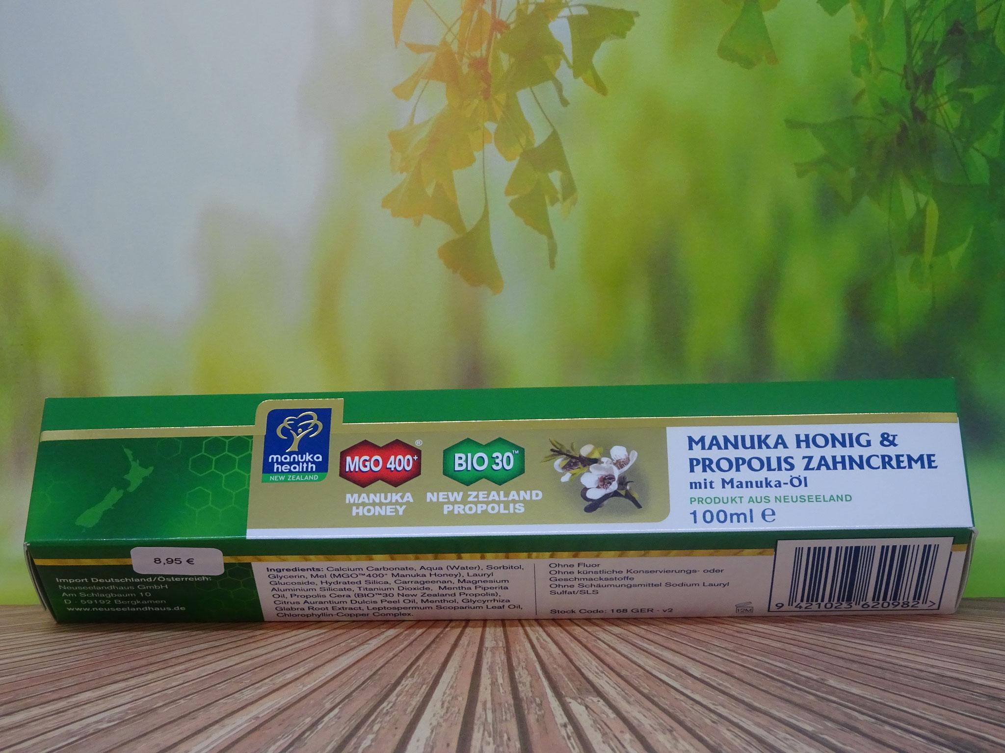 Manuka Honig und Propolis Zahncreme MGO 400 100ml (Manuka Health New Zealand)