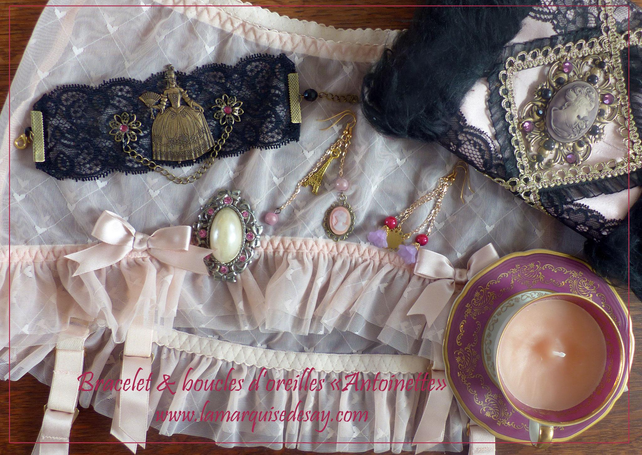 Bracelet et boucles d'oreilles Antoinette, style Victorien (EN VENTE)