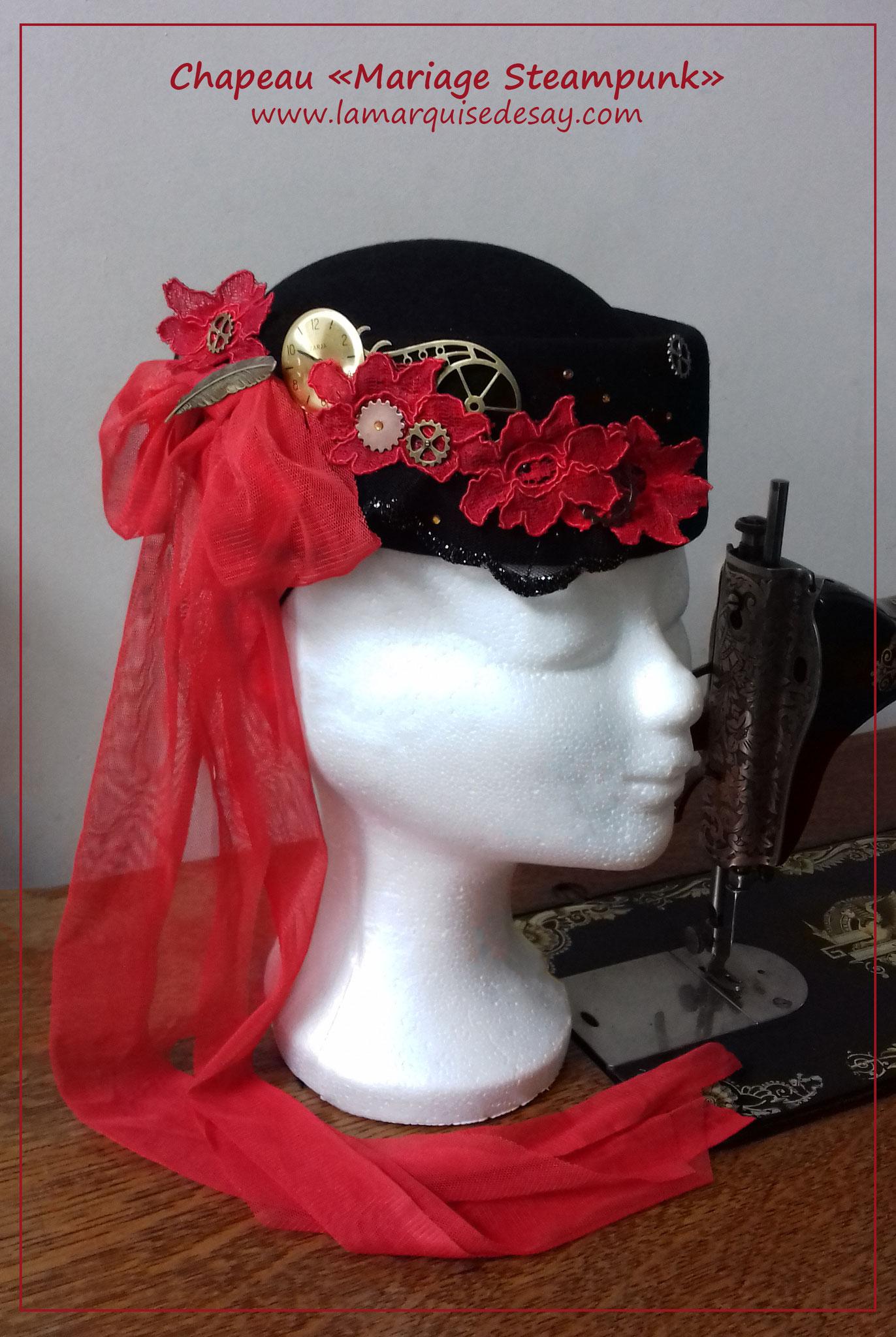 Chapeau Mariage Steampunk - Feutre noir moulé - Demande sur-mesure