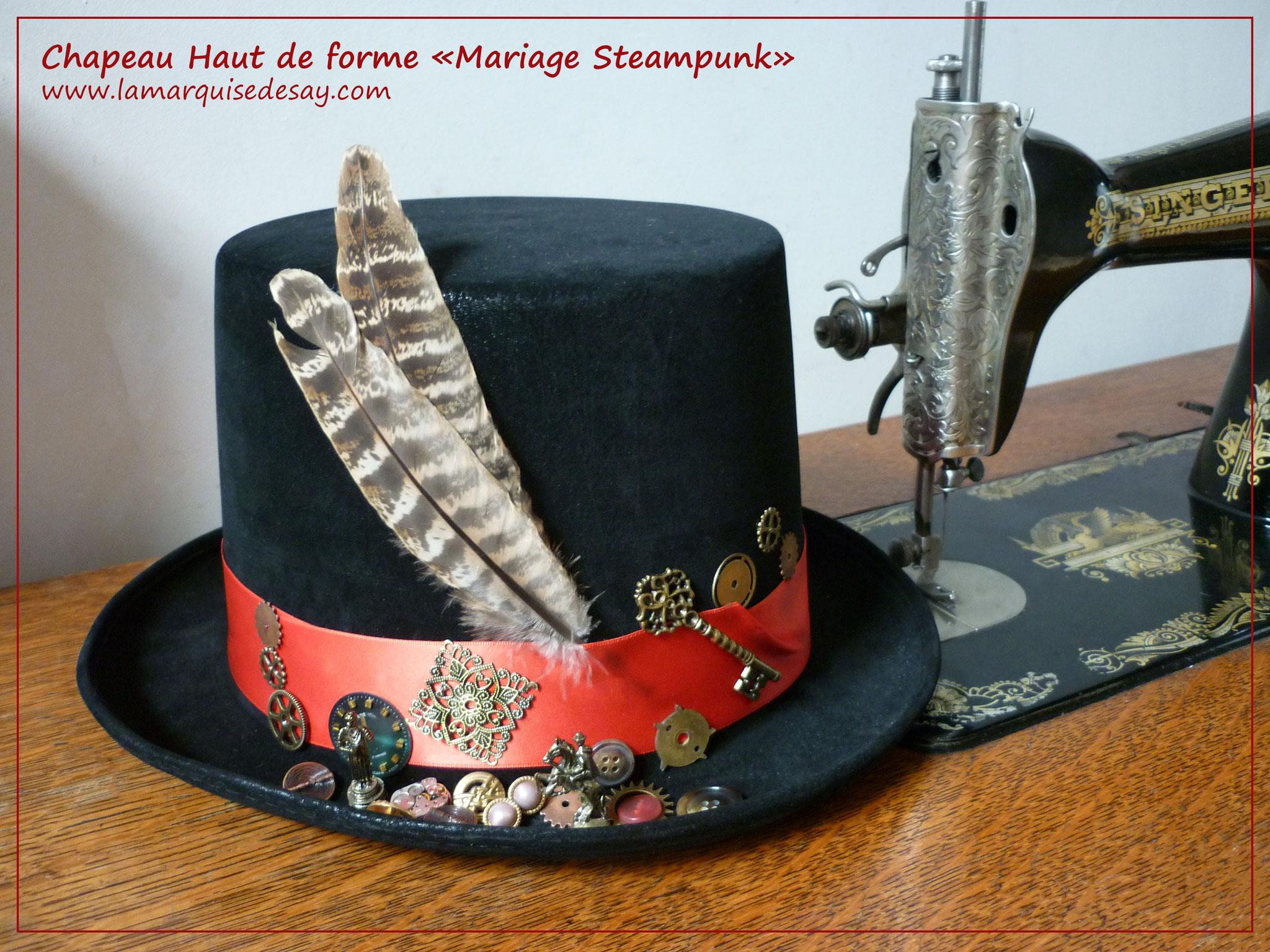 Chapeau Haut de forme Mariage Steampunk - feutre noir moulé - Demande sur-mesure