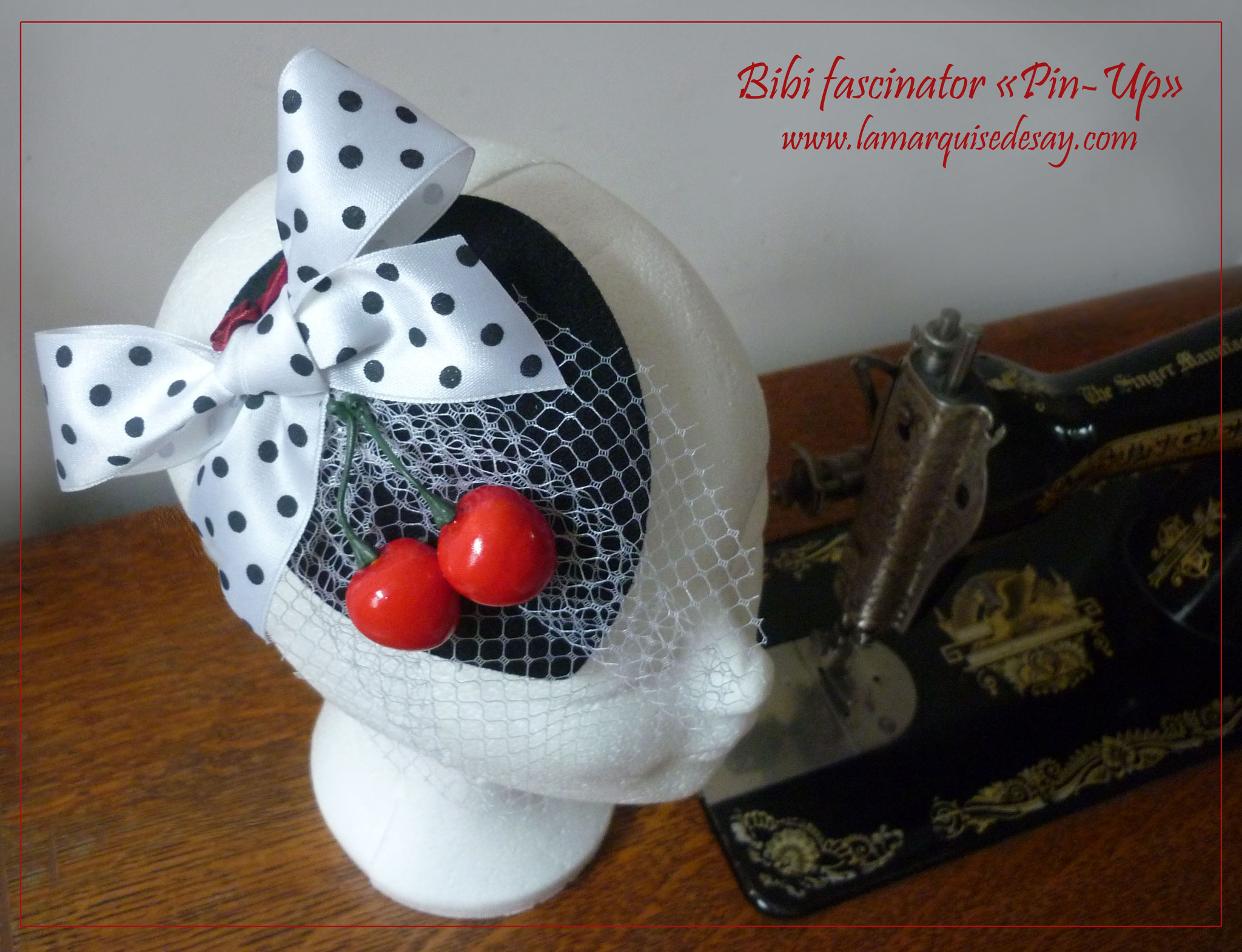 Bibi fascinator Pin Up - Feutre noir moulé