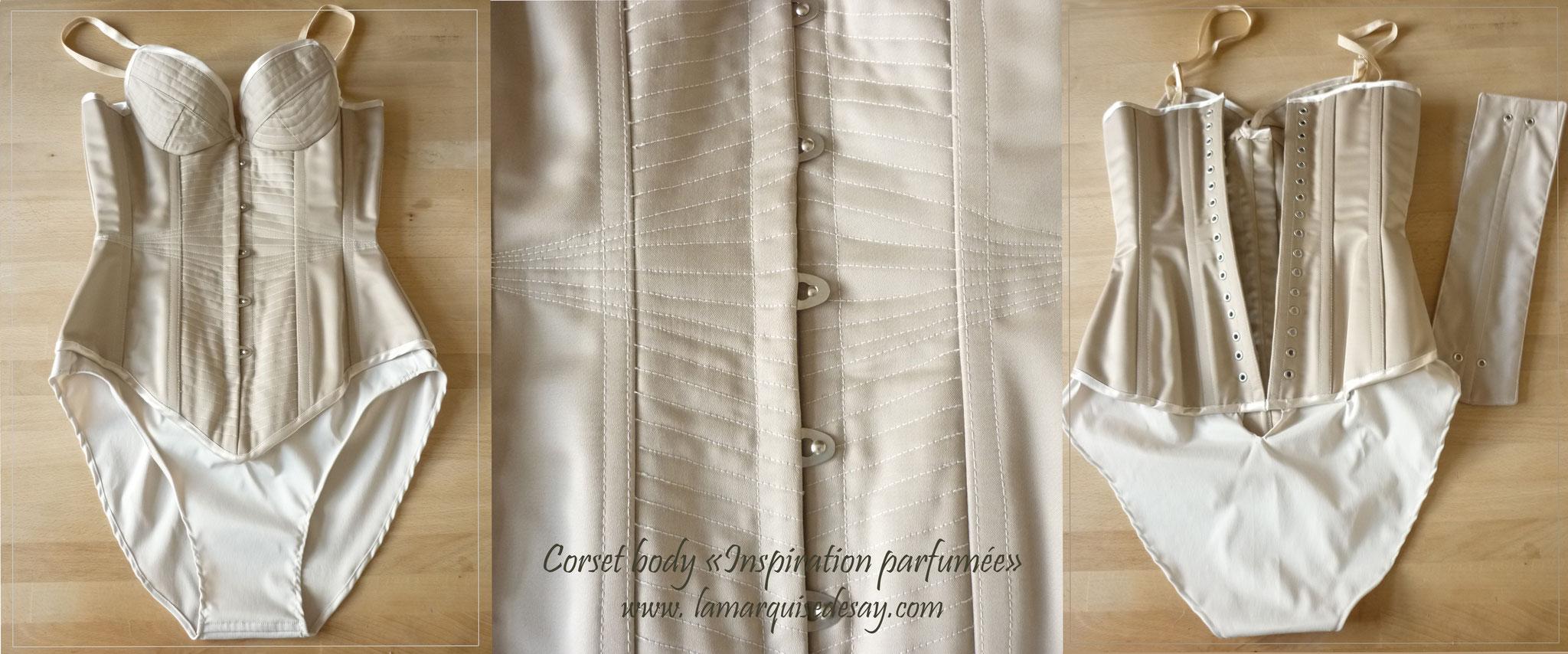Corset body sur mesure INSPIRATION PARFUMEE - Corset et culotte stretch intégrée