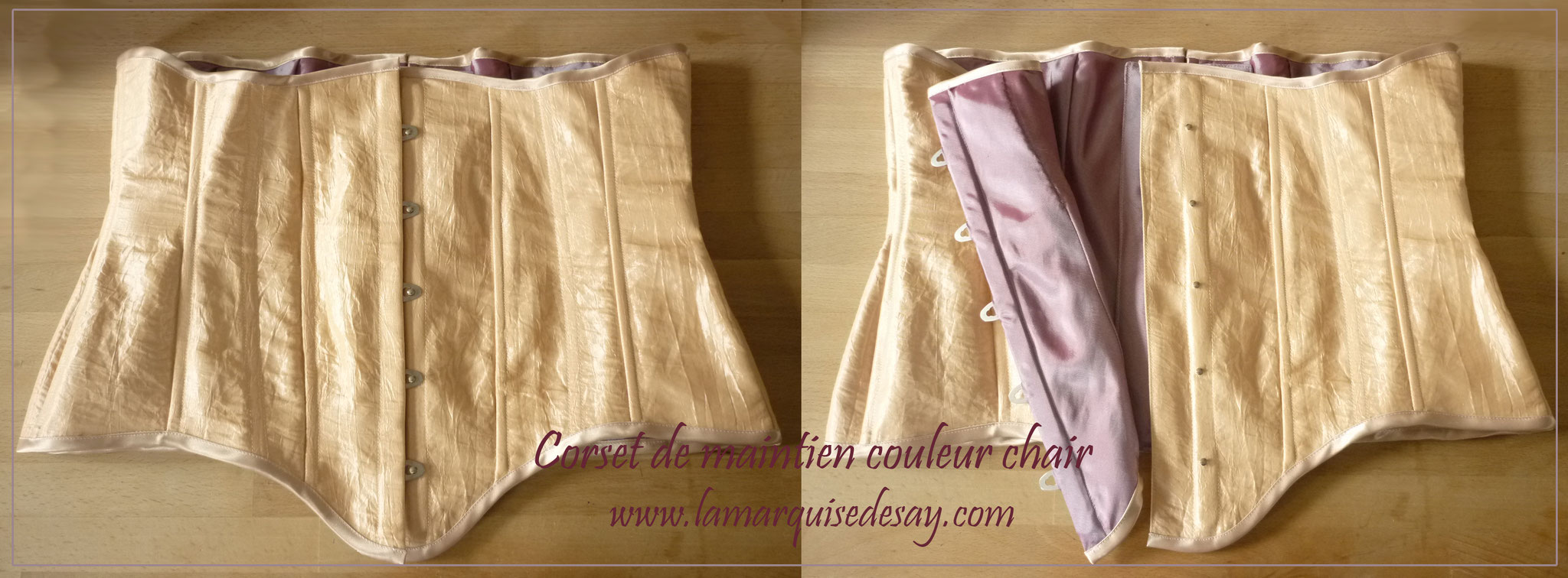 Corset de maintien sur-mesure - Taffetas chair avec doublure satinée mauve
