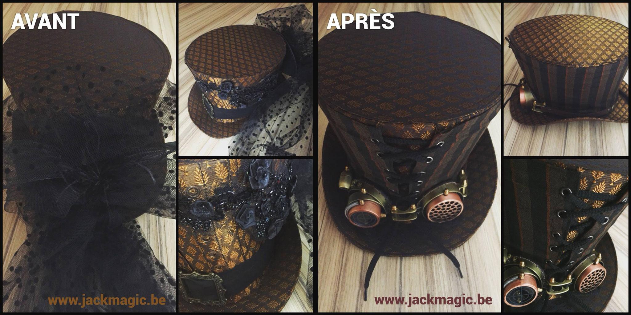 Aide couture pour la customisation du chapeau de Jack Margic (www.jackmagic.be)