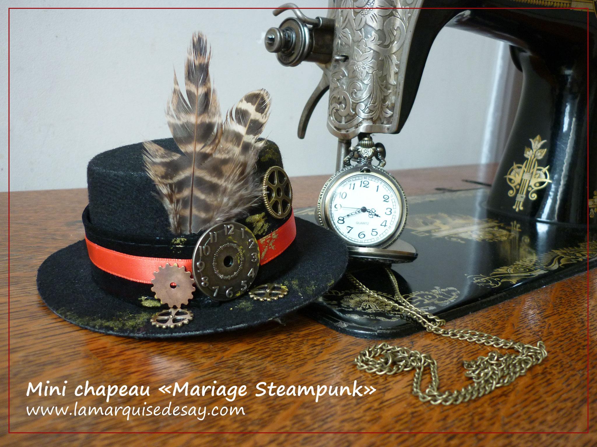 Mini chapeau Mariage Steampunk - Feutre noir moulé - Demande sur-mesure