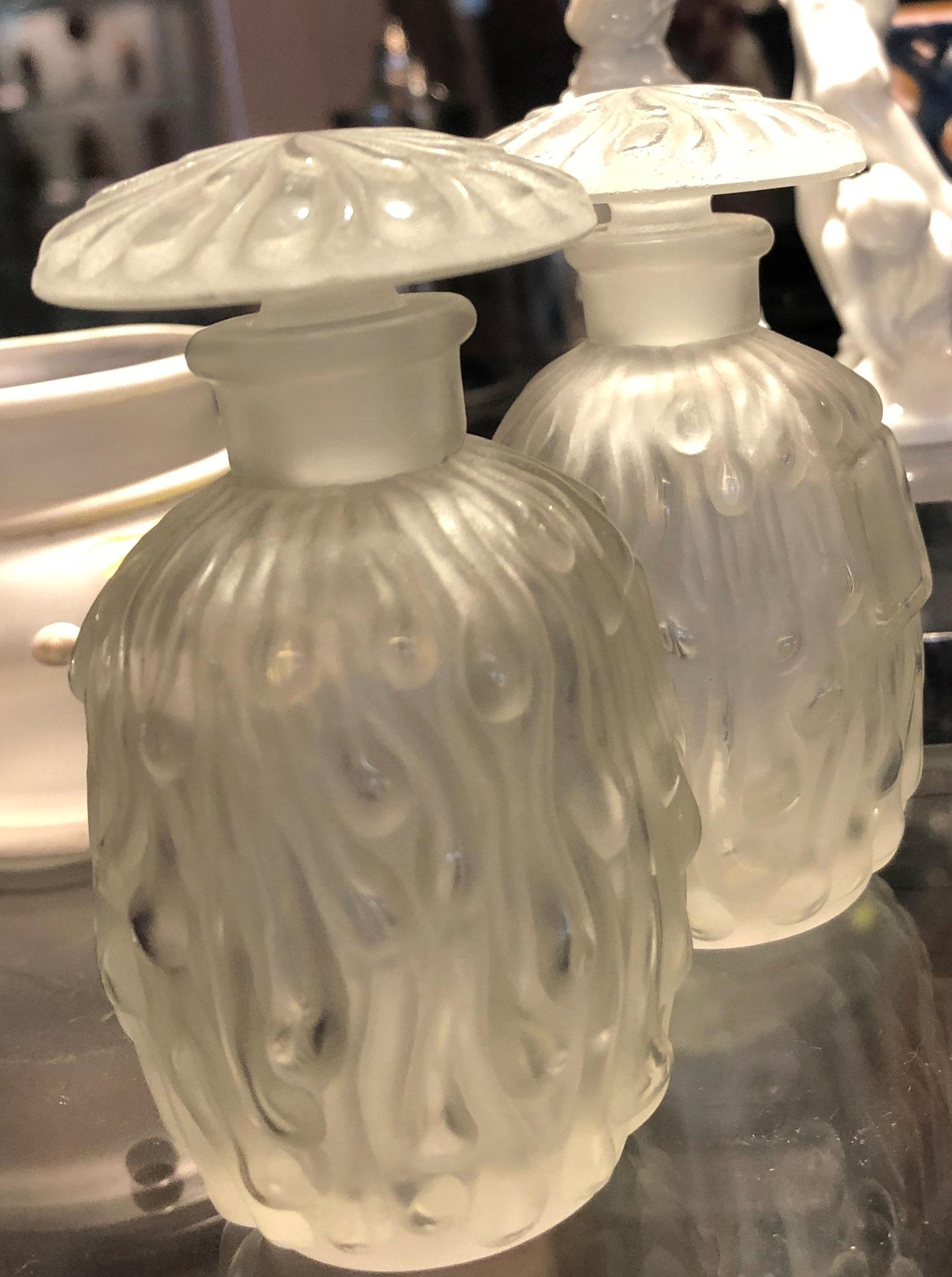 2 Flacons, René Lalique, sign., Höh je 8 cm
