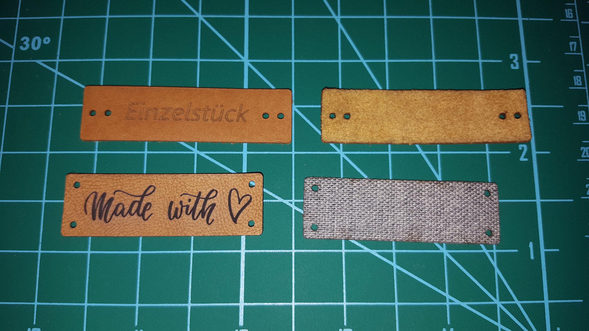 Kunstlederetiketten Vor- und Rückseite